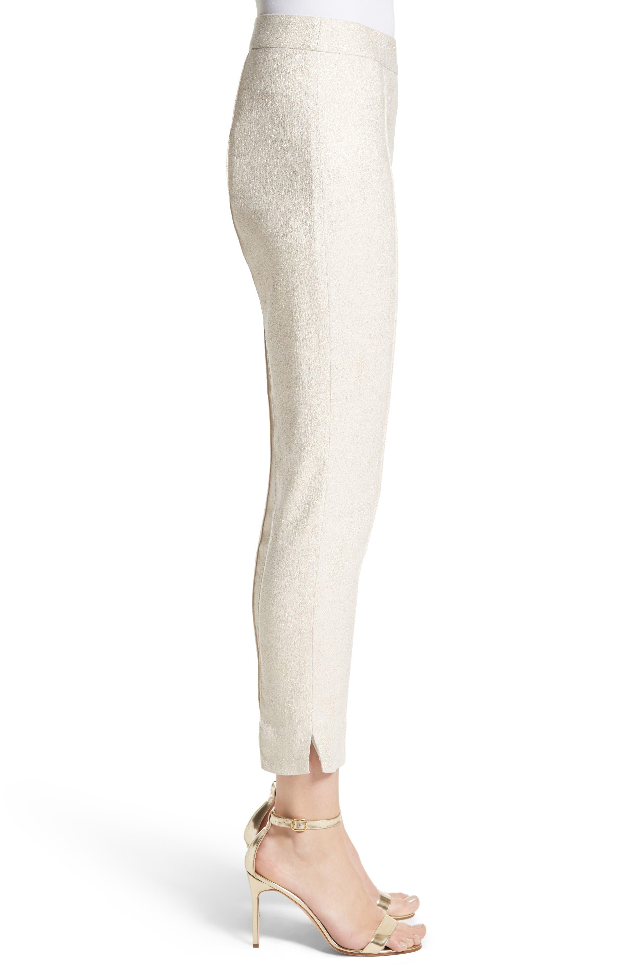 Metallic Jacquard Crop Pants,                             Alternate thumbnail 3, color,                             Bianco/ Gold