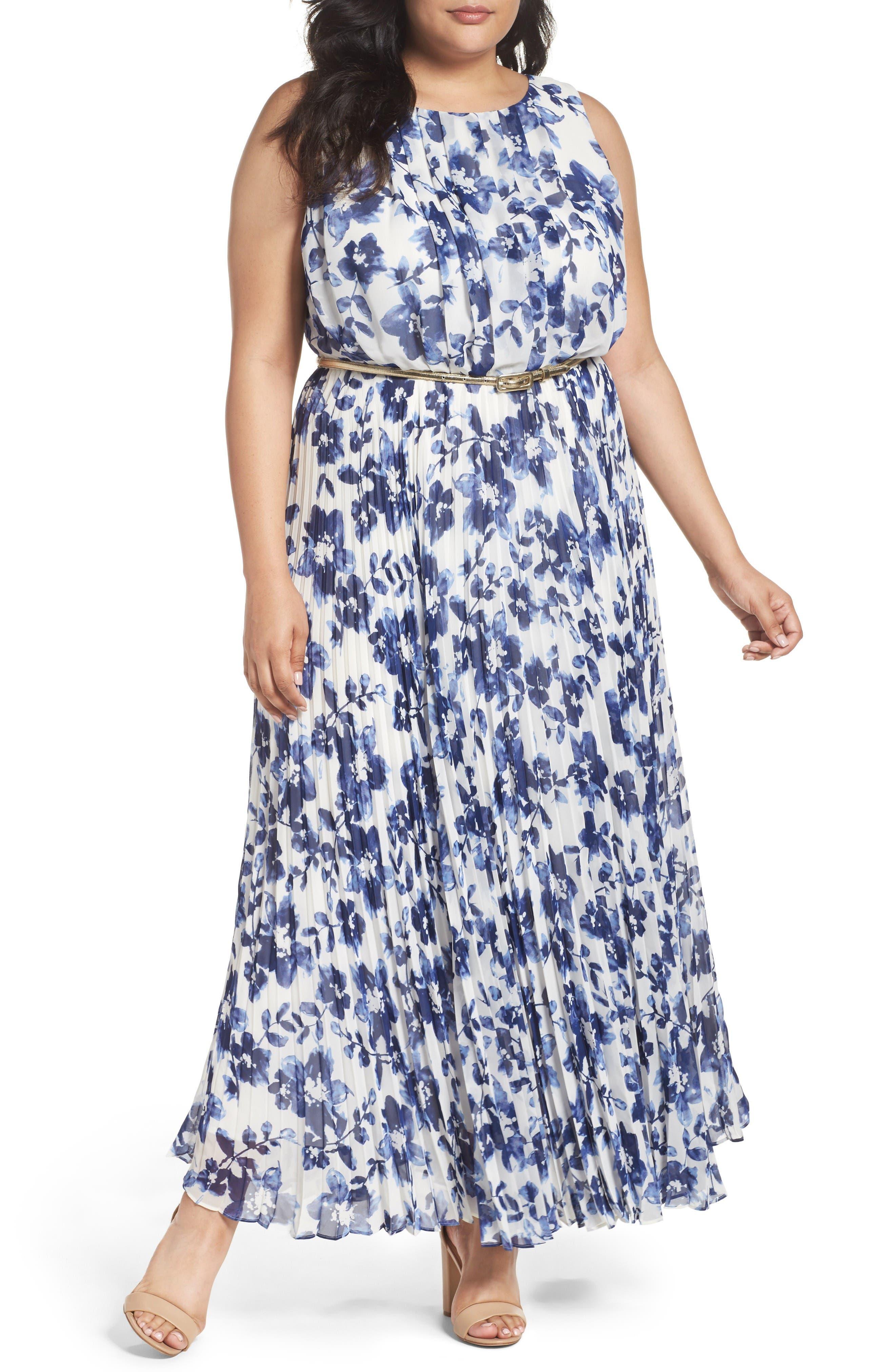 Belted Floral Maxi Dress,                         Main,                         color, Blue