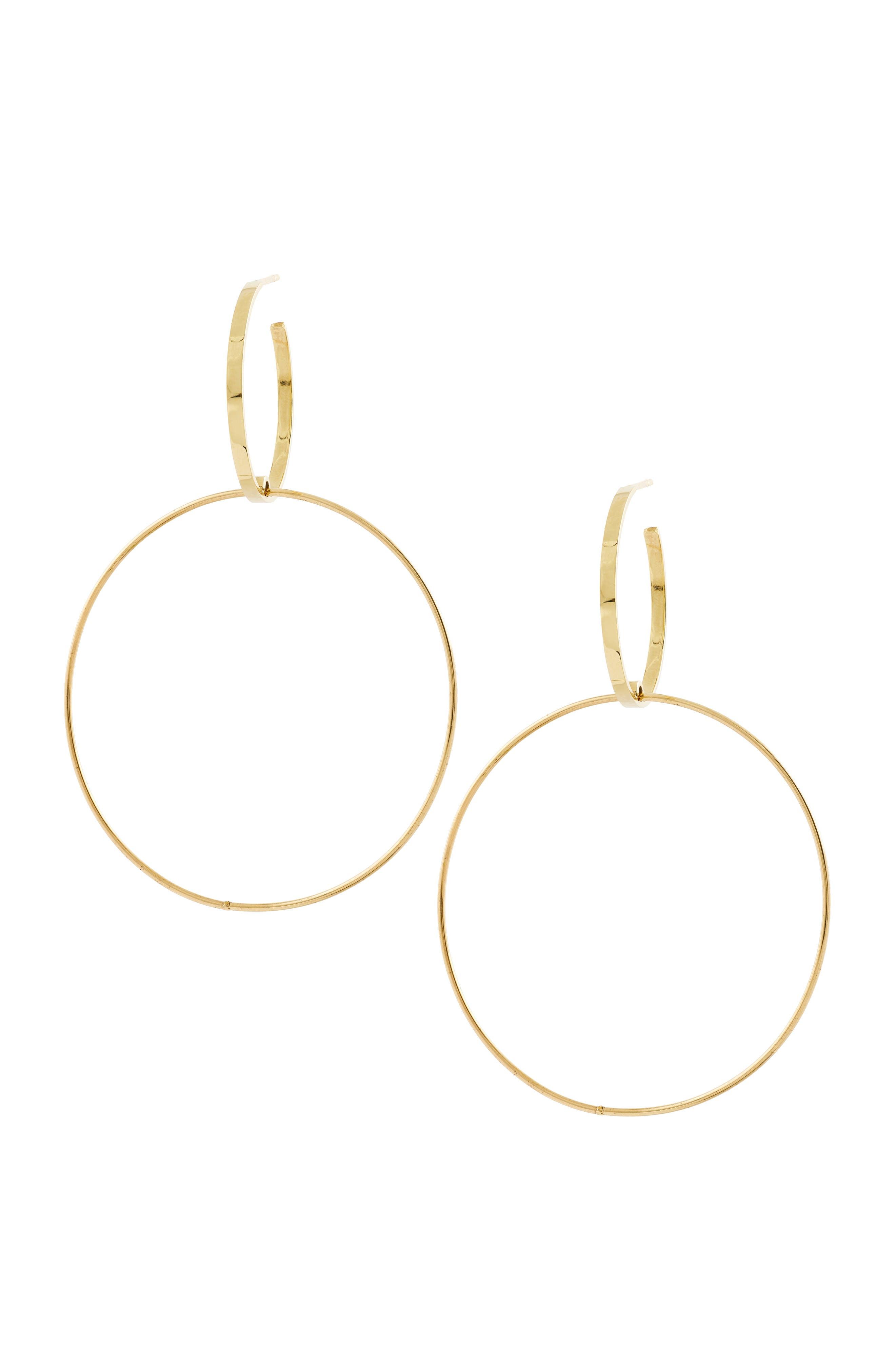 Double Bond Hoop Earrings,                         Main,                         color, Yellow Gold