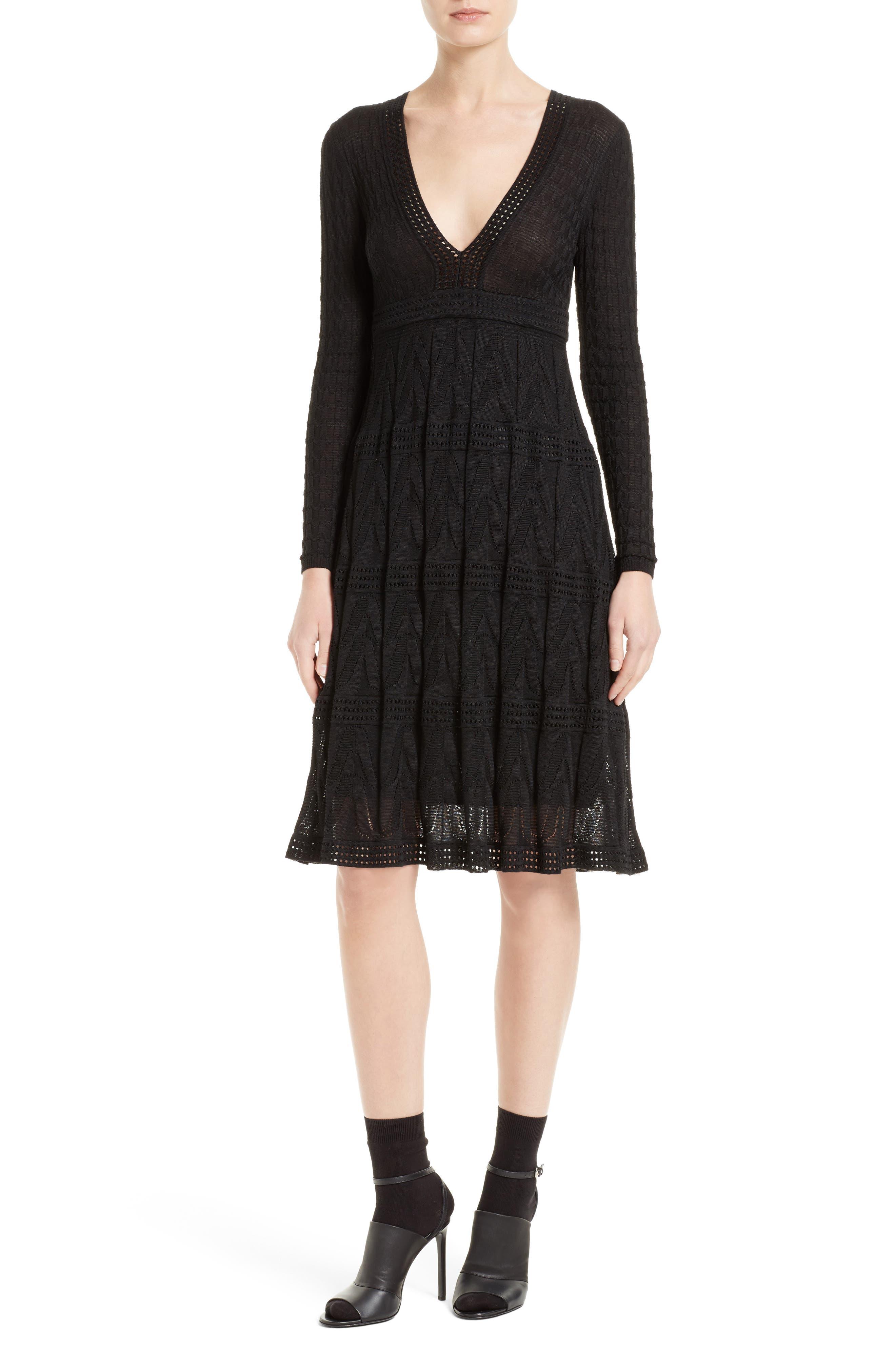Wool Blend Empire Waist Dress,                             Main thumbnail 1, color,                             Black