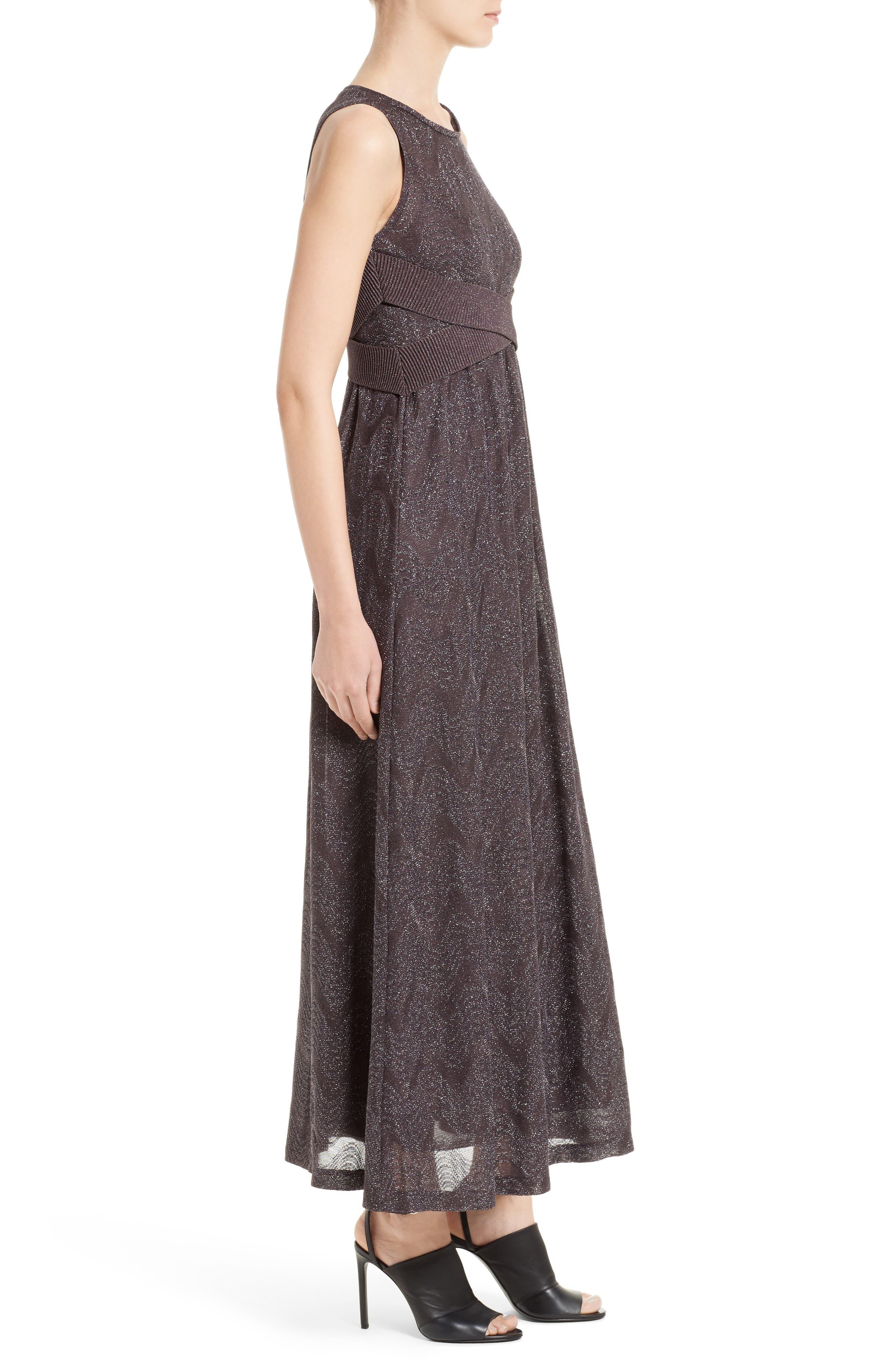 Metallic Maxi Dress,                             Alternate thumbnail 3, color,                             Eggplant