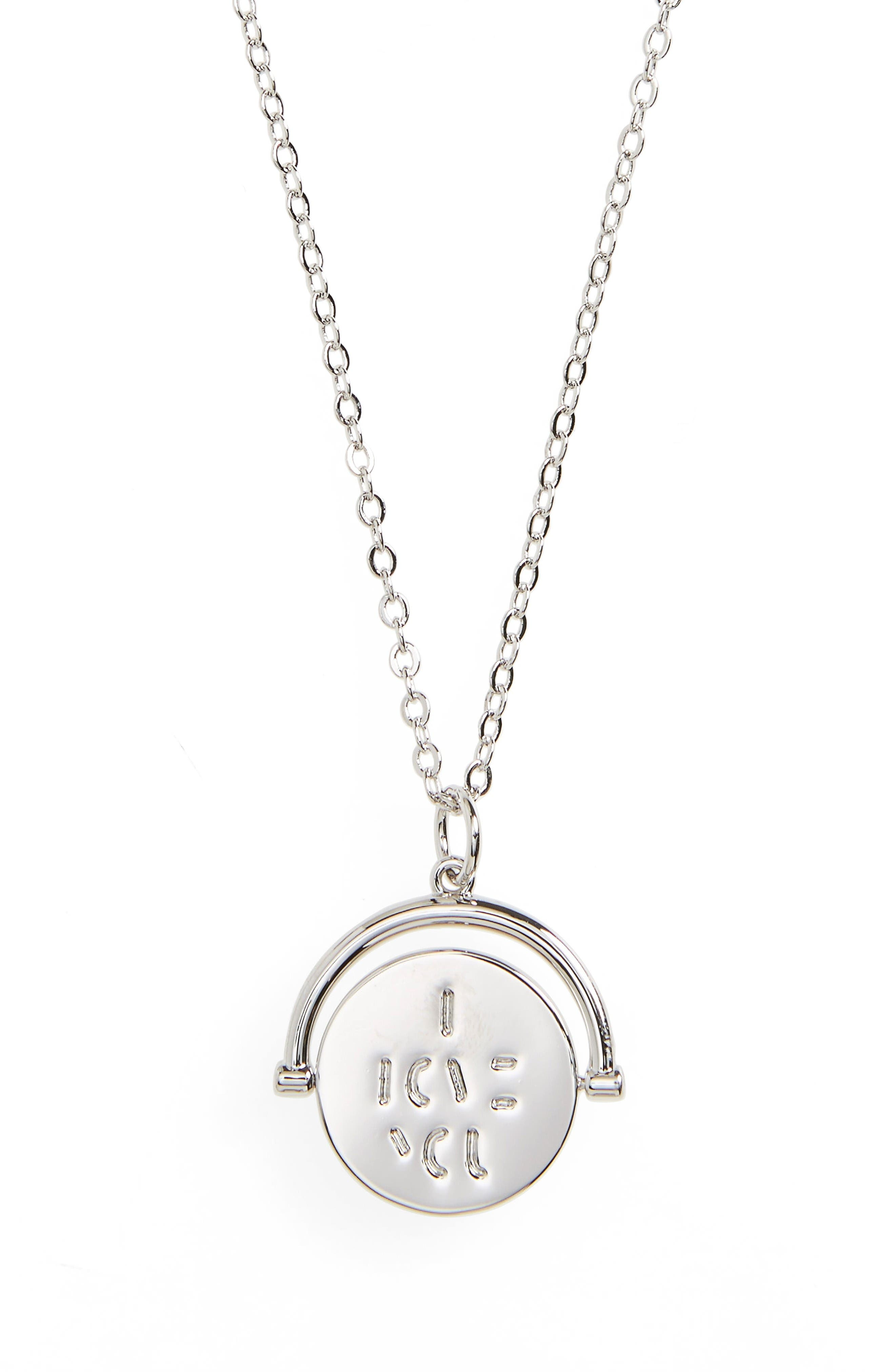 I Love You Love Code Charm Necklace,                         Main,                         color, I Love You/ Silver