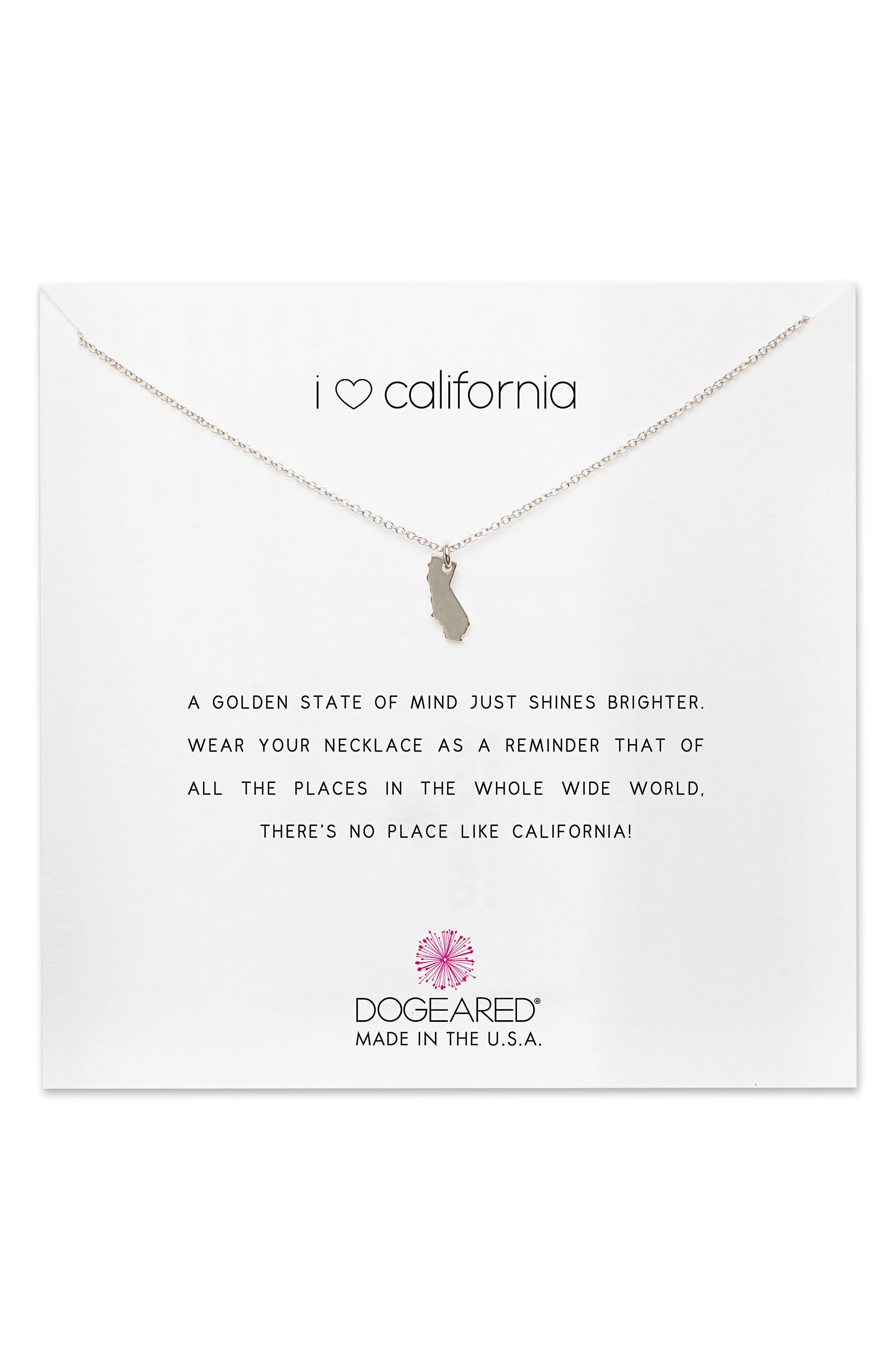 I Heart California Pendant Necklace,                         Main,                         color, Sterling Silver