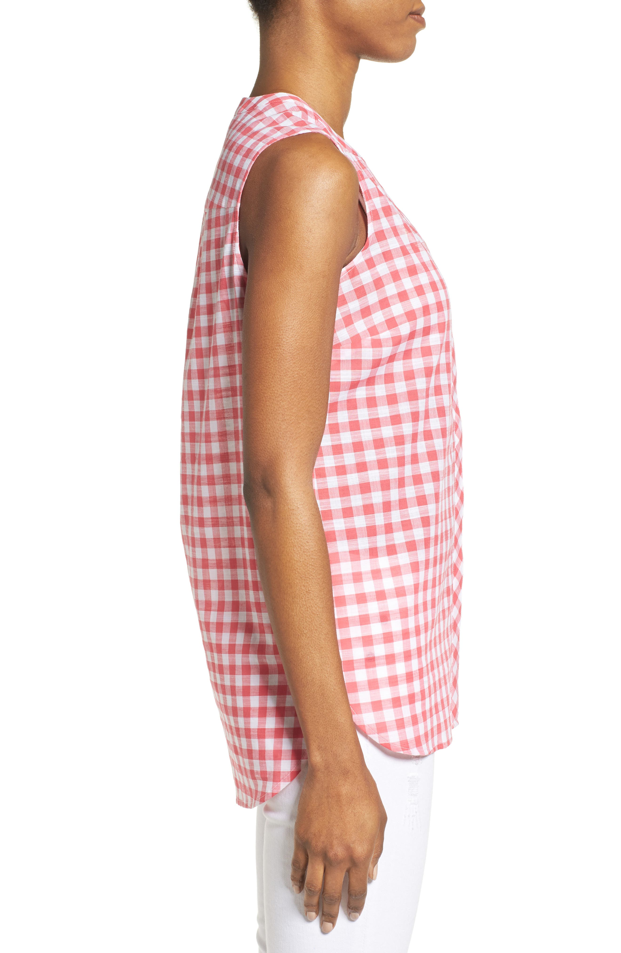 Alternate Image 3  - Foxcroft Gingham Sleeveless Shirt (Regular & Petites)