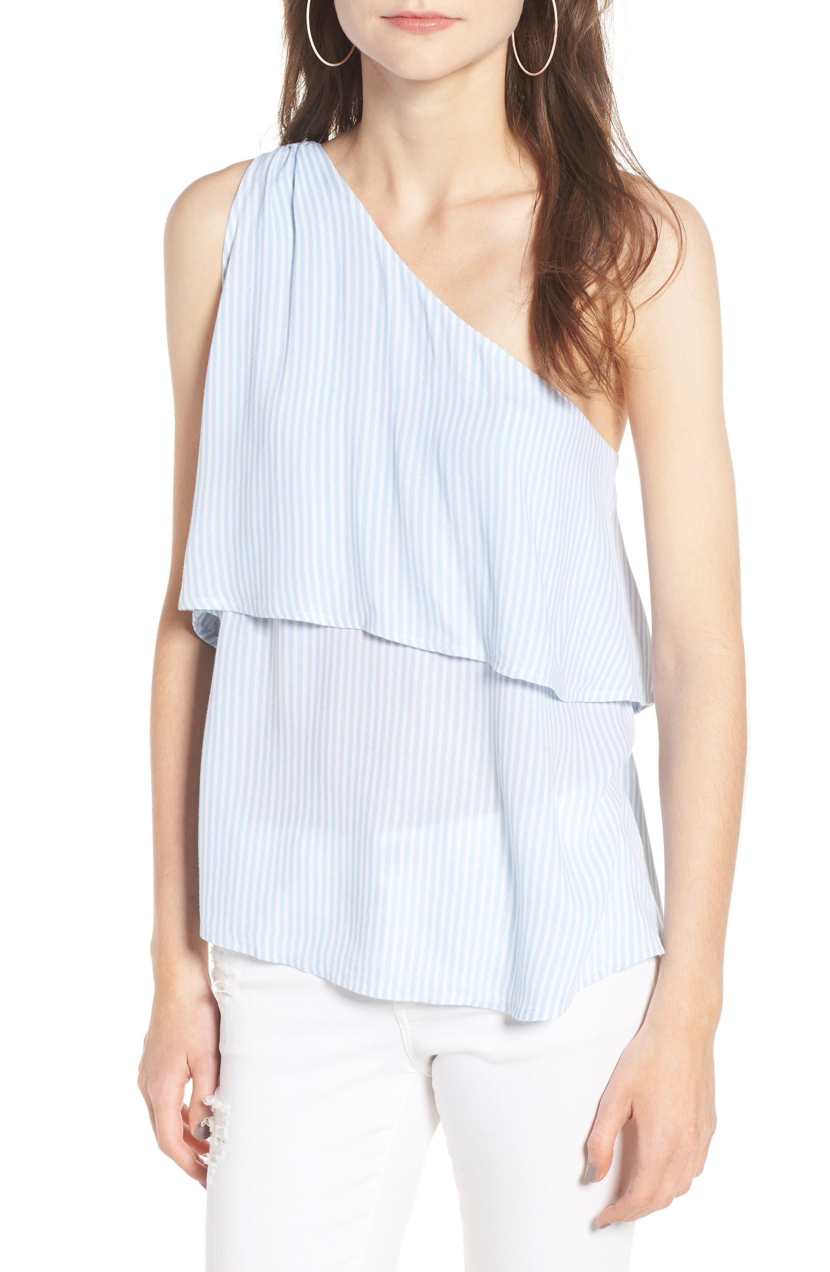 One-Shoulder Top,                         Main,                         color, Blue Cashmer Classic Stripe