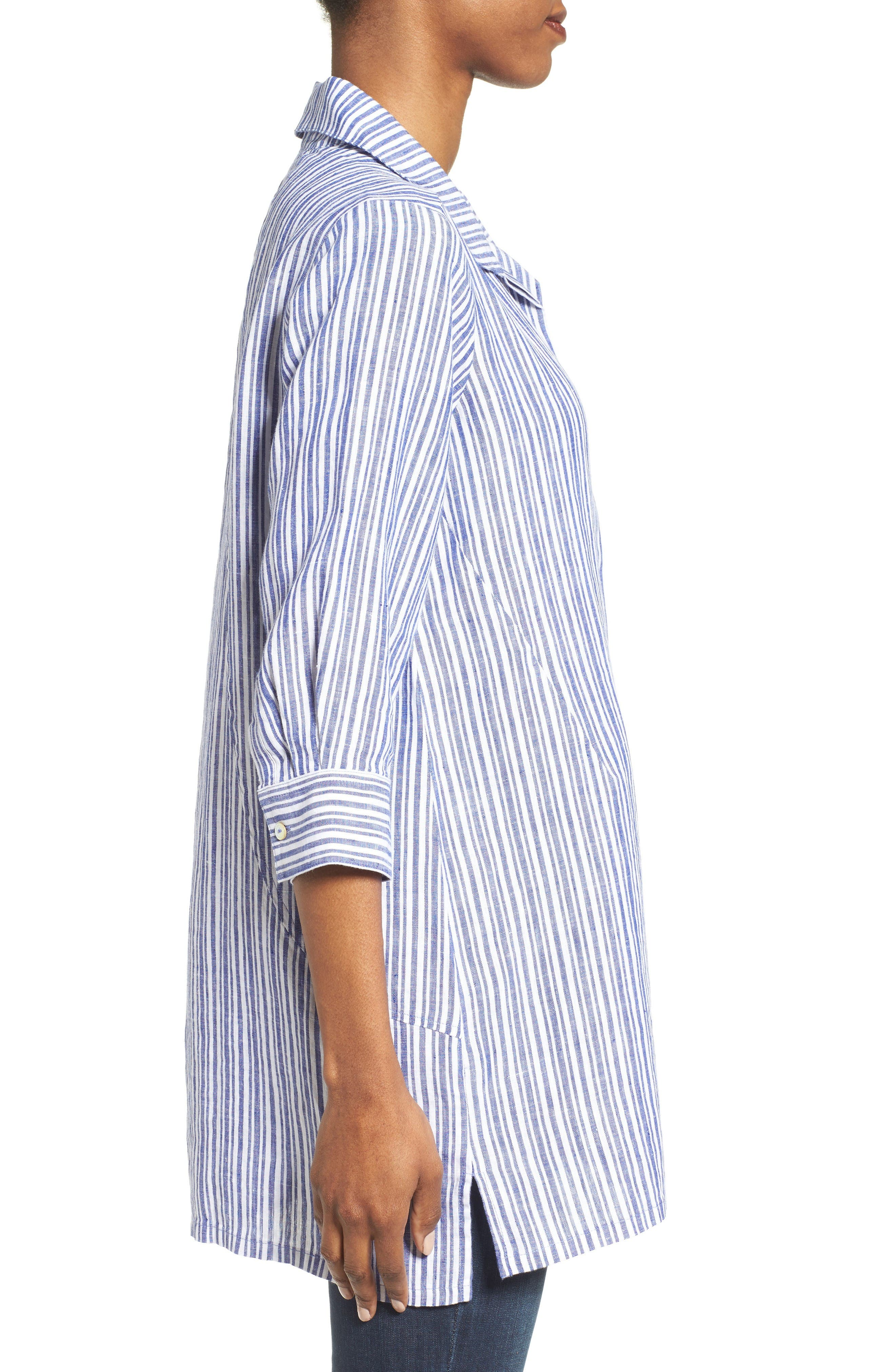 Stripe Linen Tunic,                             Alternate thumbnail 3, color,                             Blue Lagoon