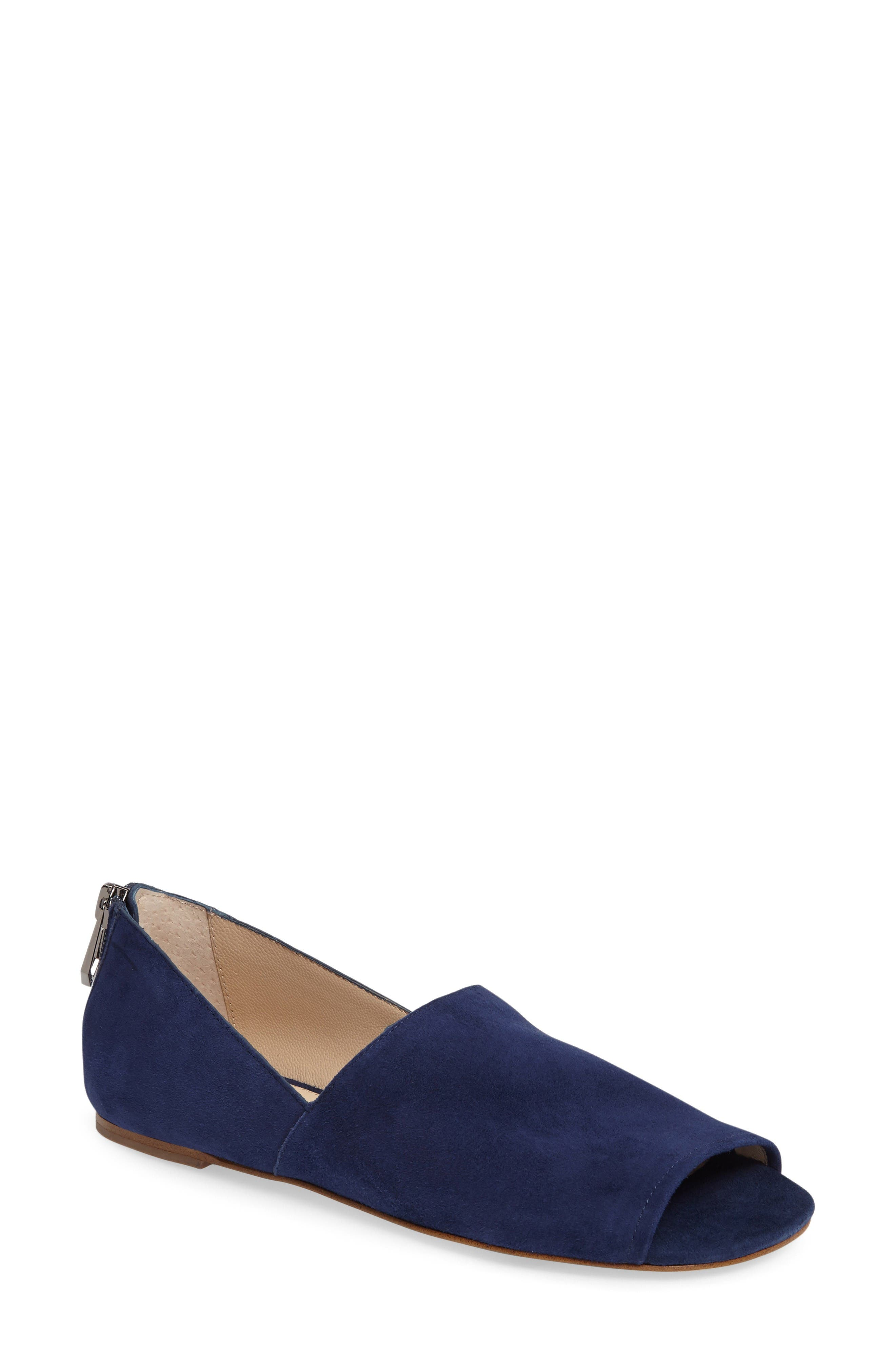 Maxine Peep Toe Flat,                         Main,                         color, Navy