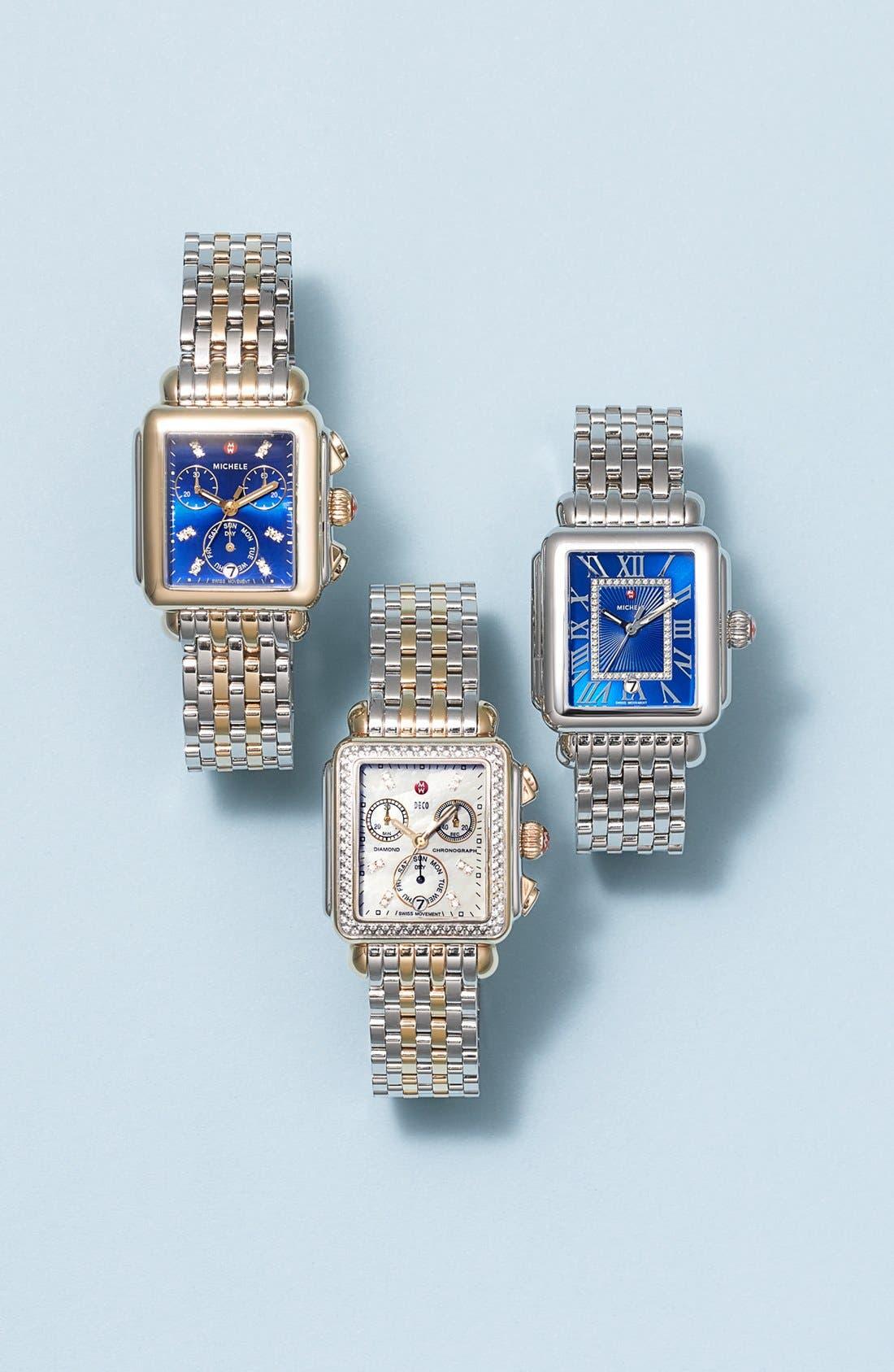 Alternate Image 3  - MICHELE Deco Diamond Dial Two-Tone Watch Head, 33mm x 35mm
