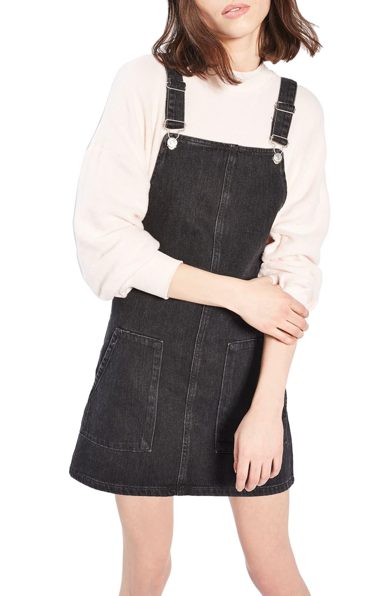 Topshop Denim Pinafore Dress (Regular & Petite)