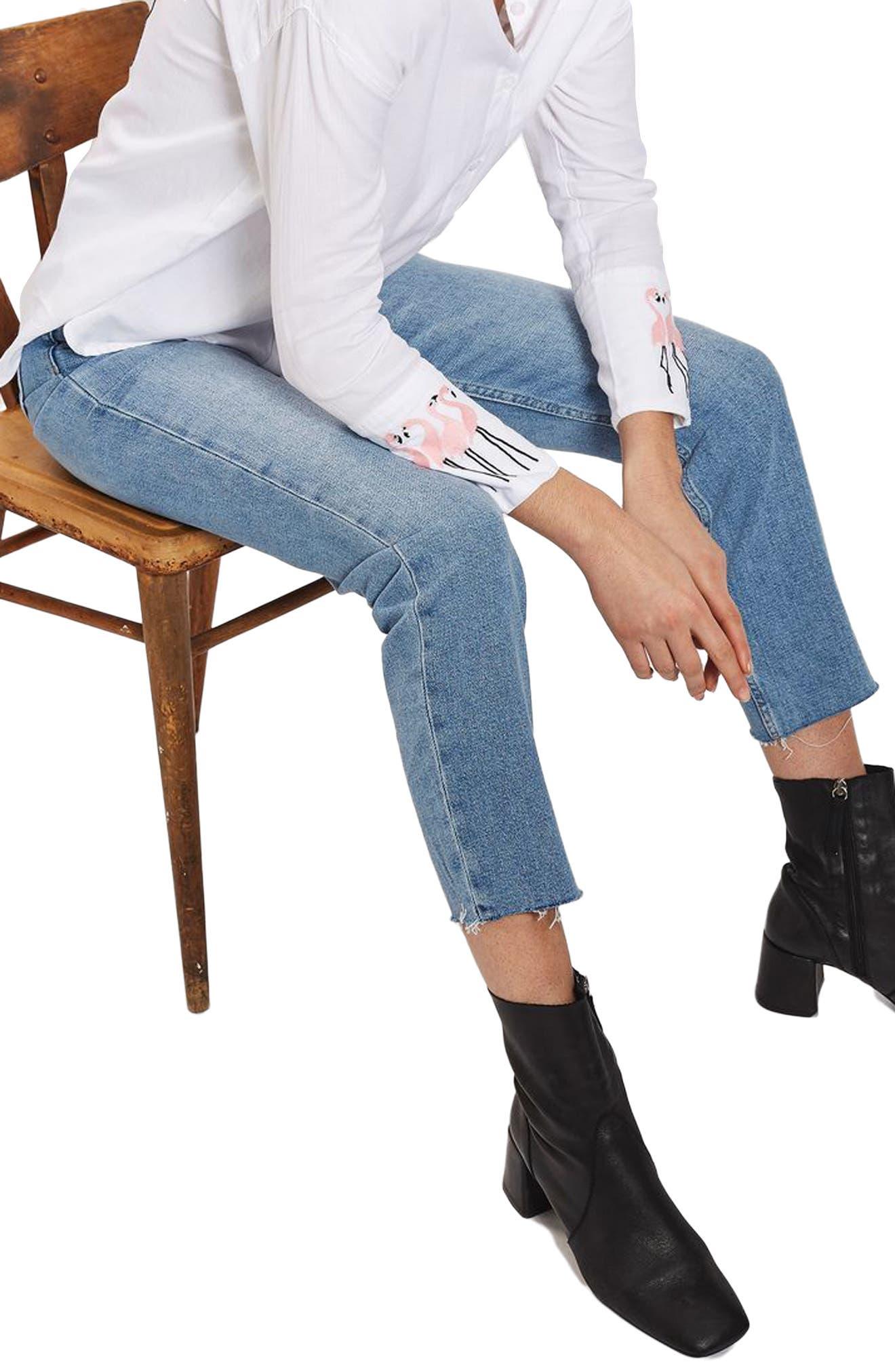 Raw Hem Straight Leg Jeans,                         Main,                         color, Mid Denim