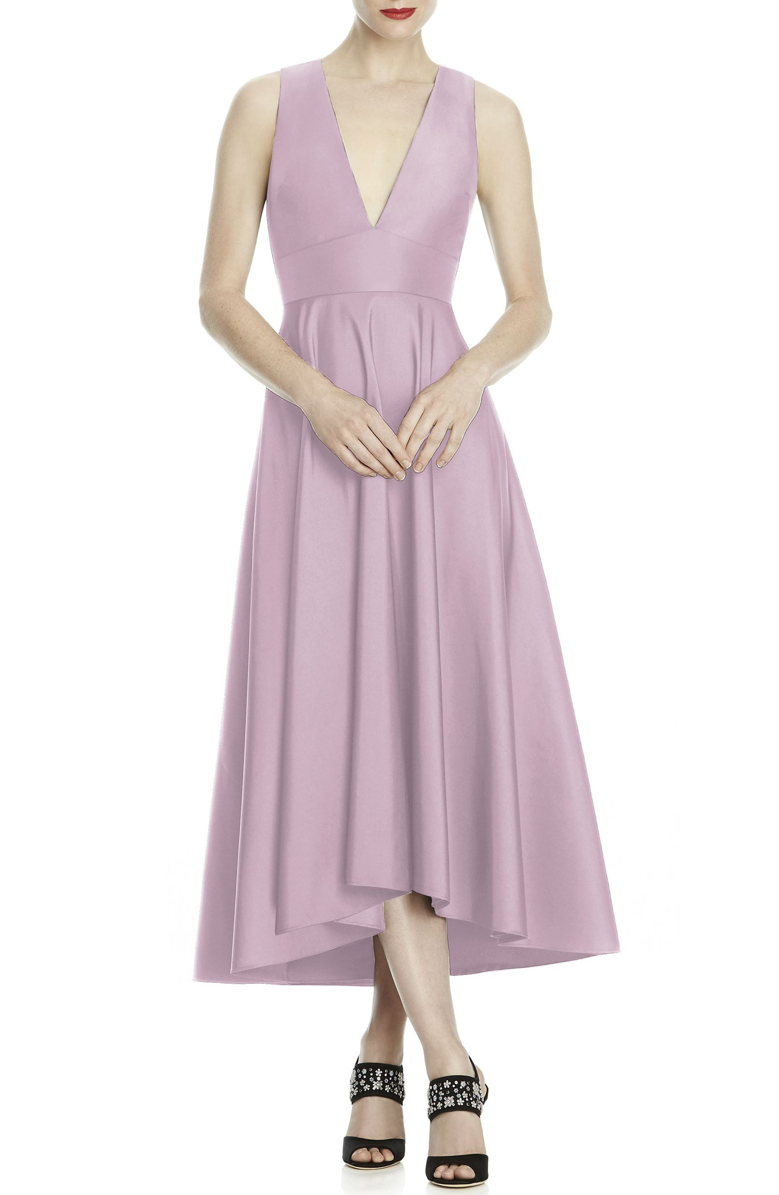 Mikado High/Low Midi Gown,                         Main,                         color, Suede Rose