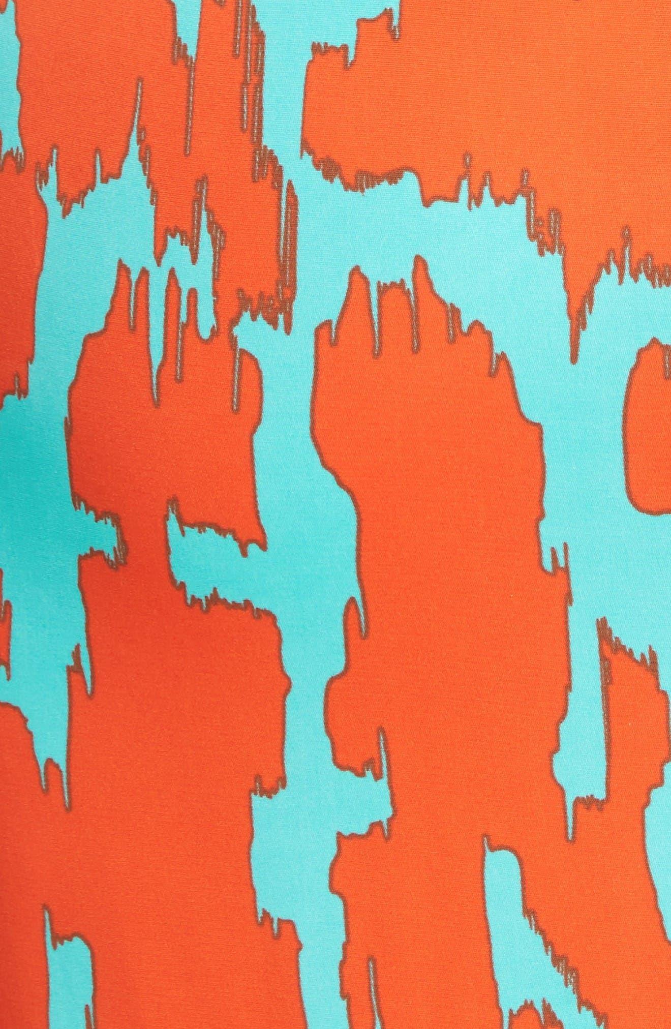 Diane von Furstenburg Print Stretch Silk Shirt,                             Alternate thumbnail 6, color,                             Bold Red
