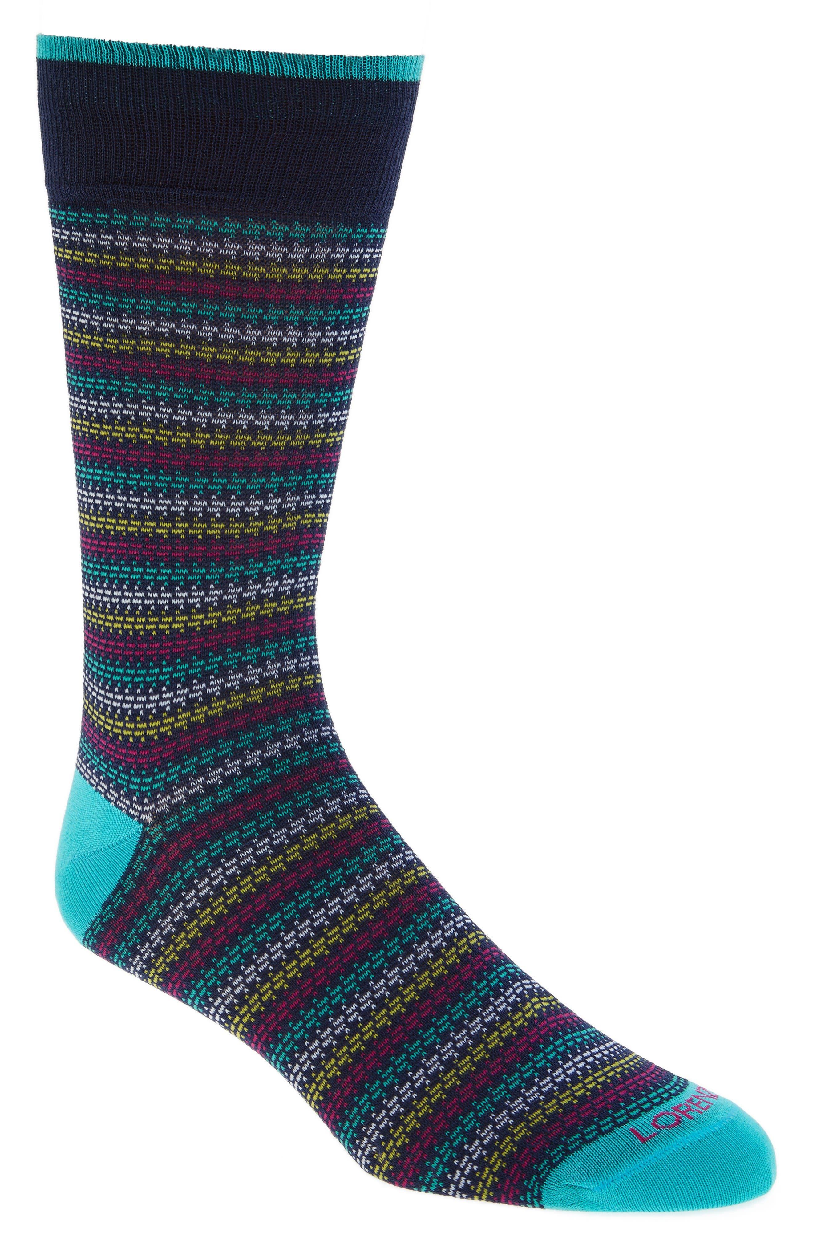Houndstooth Stripe Crew Socks,                         Main,                         color, Navy/ Teal