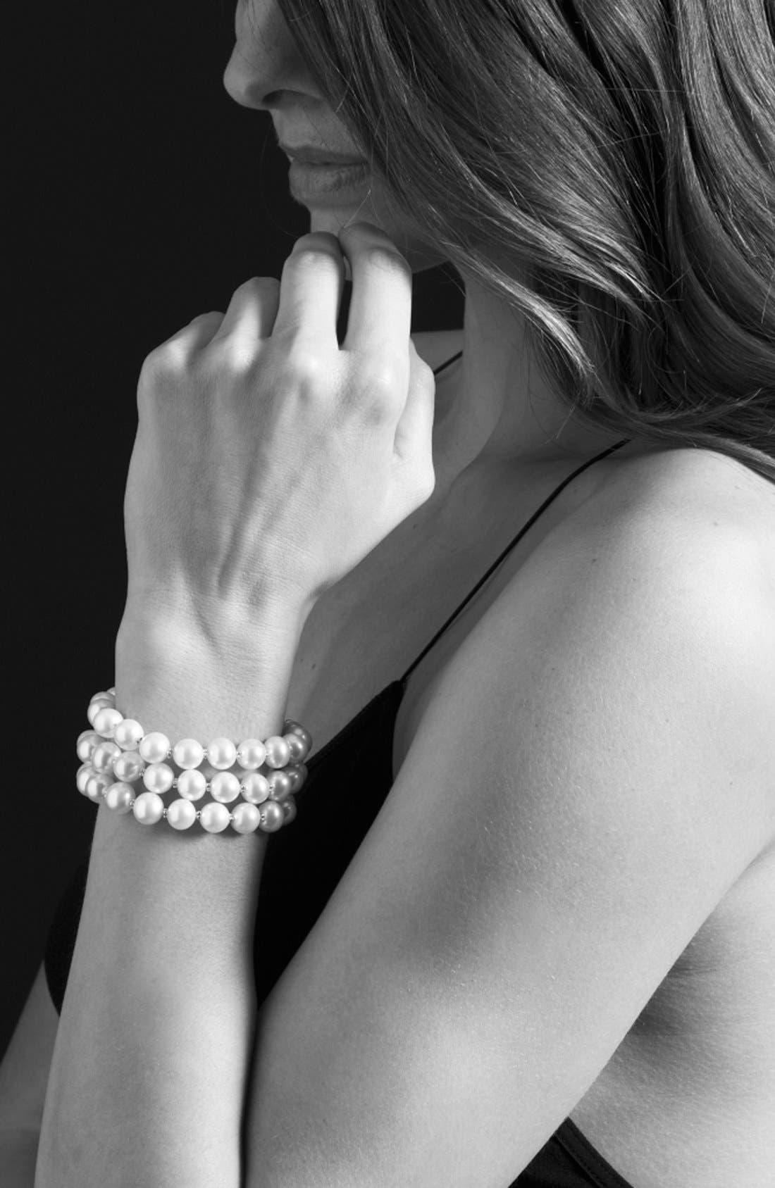 'Luna' Triple Strand Pearl Bracelet,                             Alternate thumbnail 3, color,                             Silver/Pearl