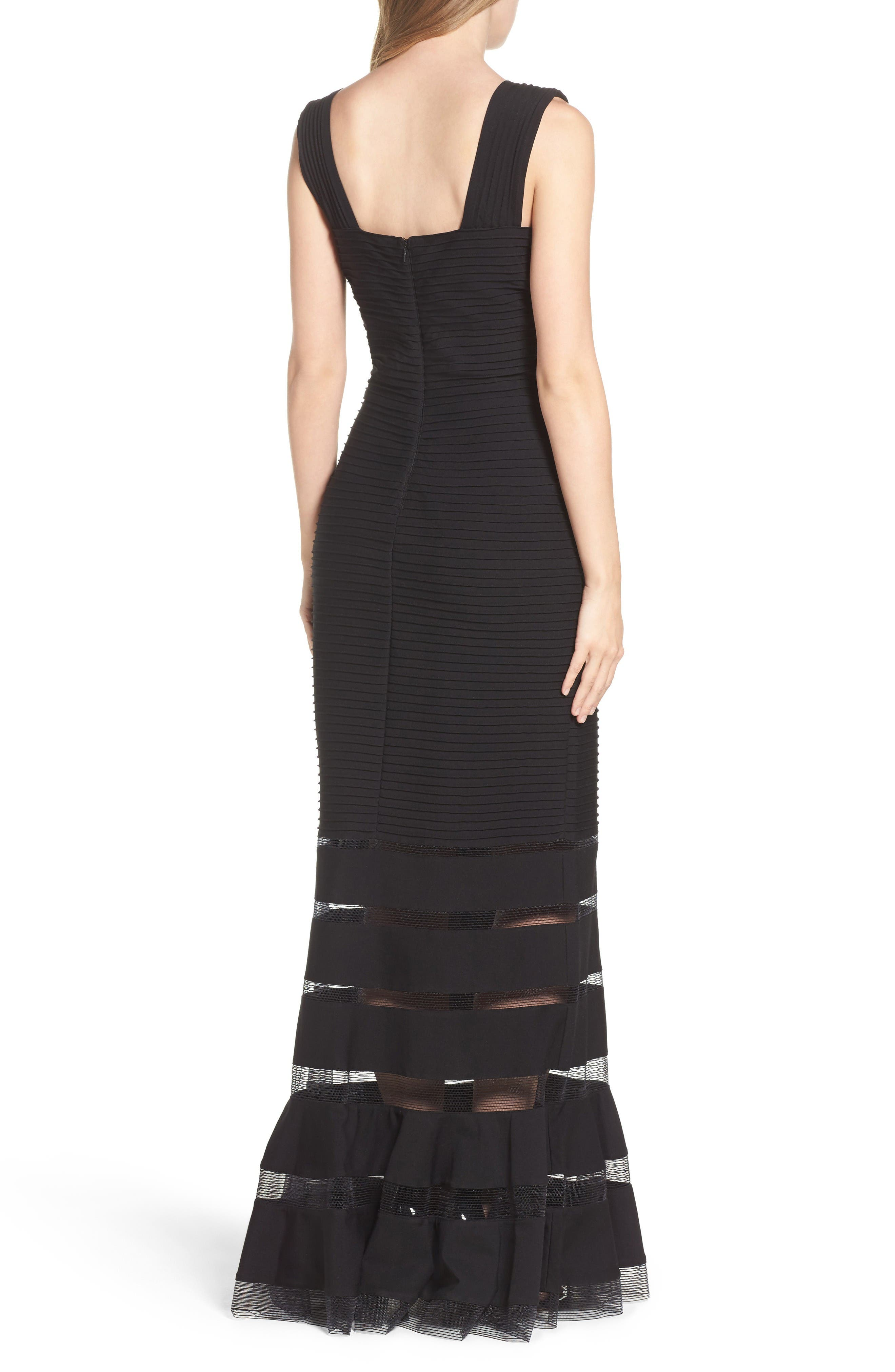 Mesh Inset Gown,                             Alternate thumbnail 2, color,                             Black
