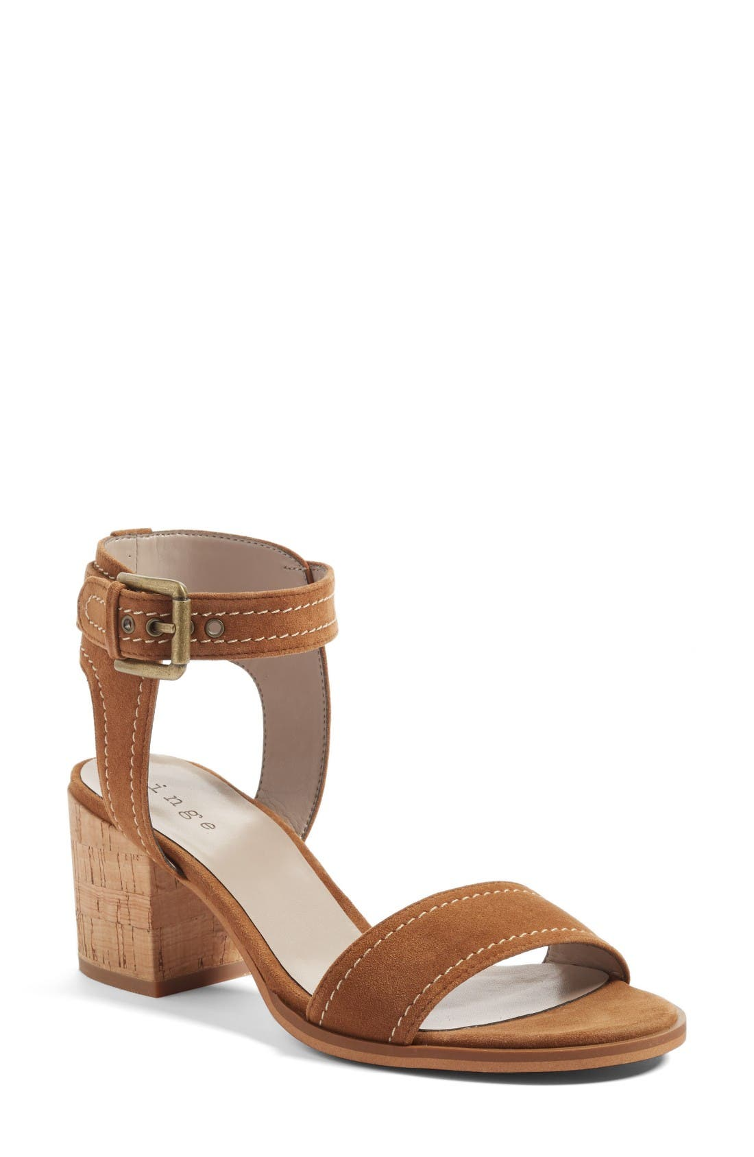 Dylan Block Heel Sandal,                             Main thumbnail 1, color,                             Brown Suede