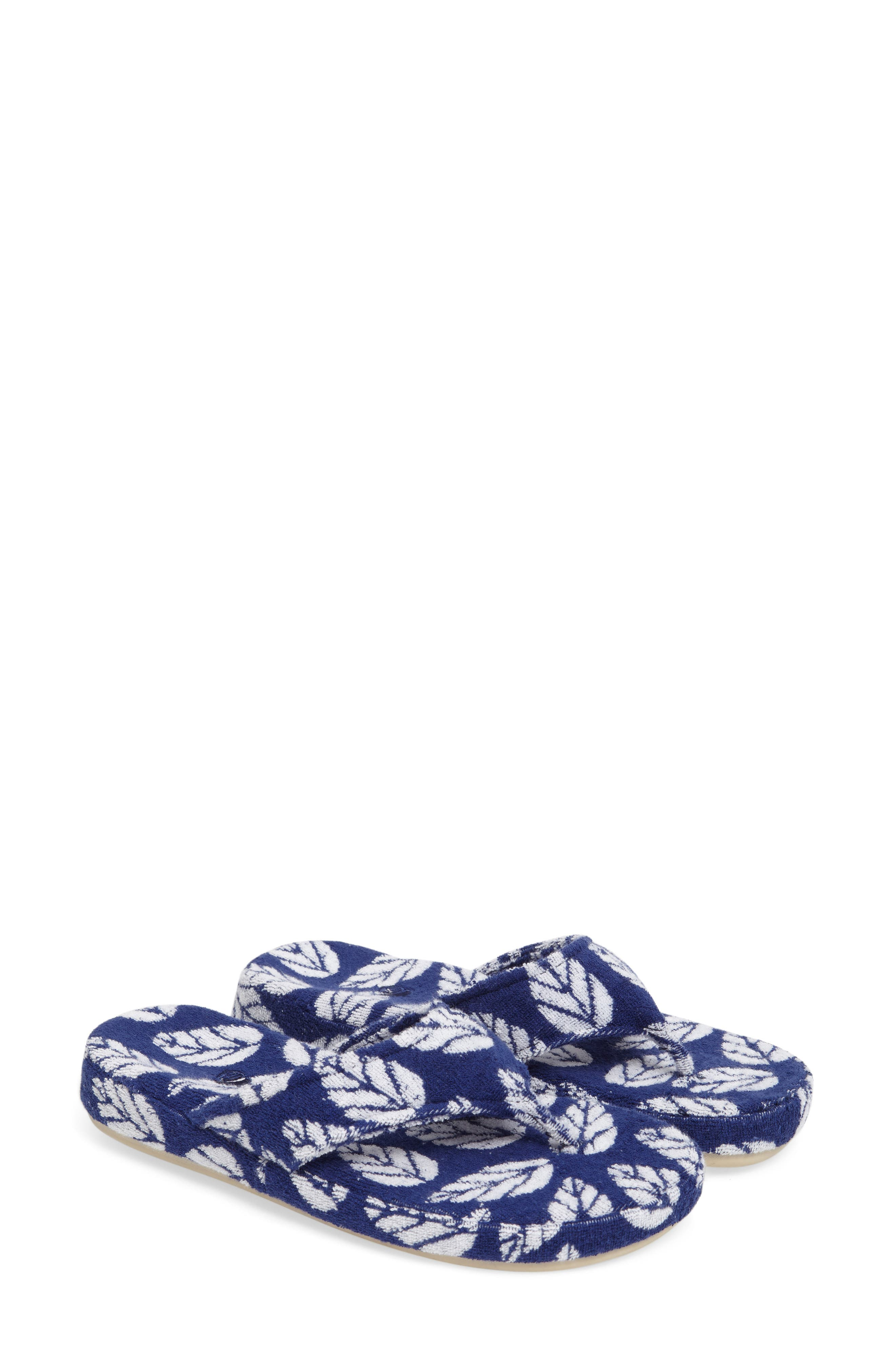 Summerweight Spa Slipper,                             Alternate thumbnail 2, color,                             Navy Leaf Fabric