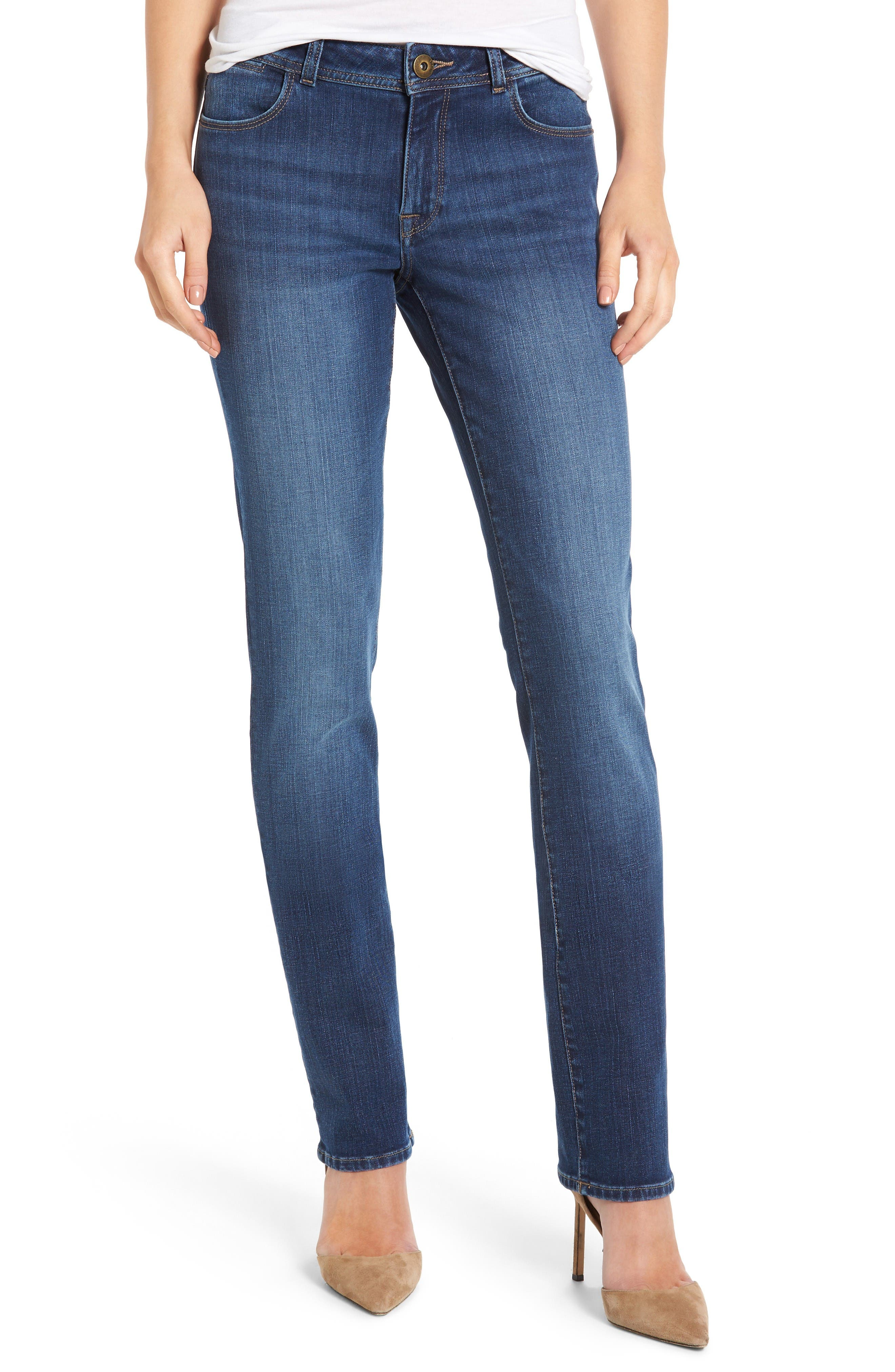 Coco Curvy Straight Leg Jeans,                         Main,                         color, Pacific