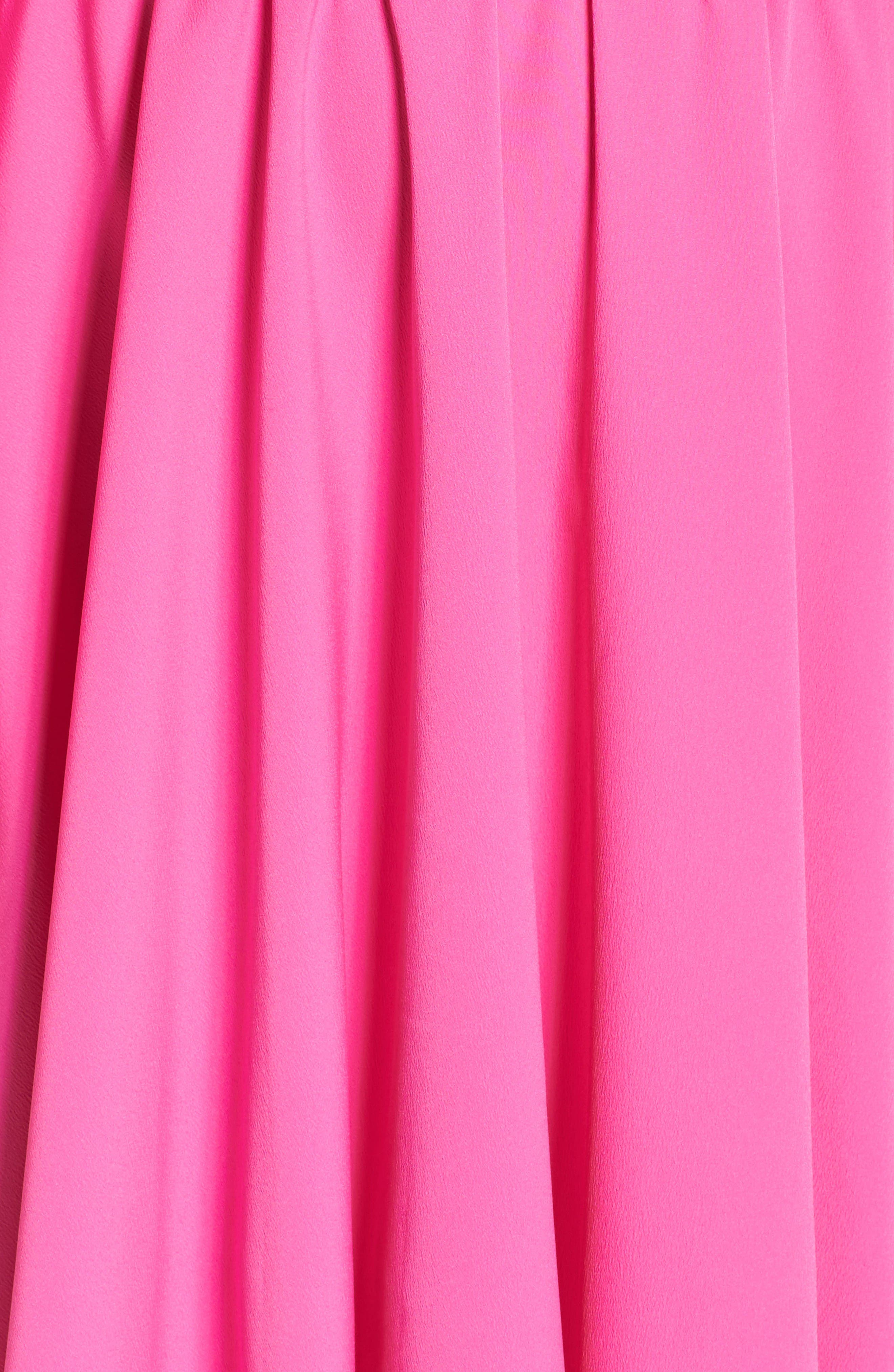 Tie Sleeve Fit & Flare Dress,                             Alternate thumbnail 6, color,                             Fuchsia