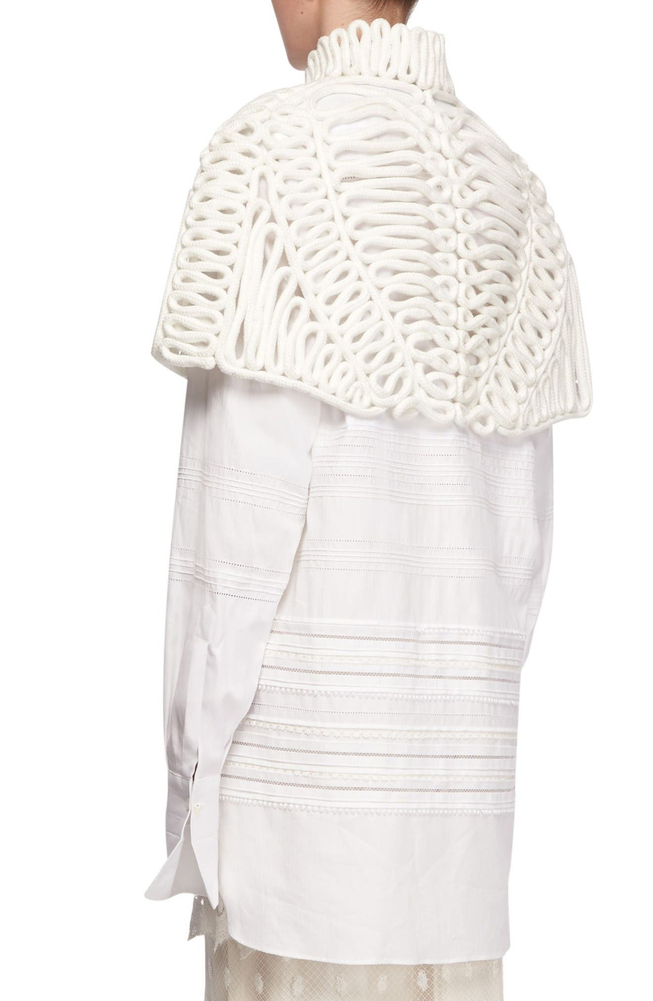 Hand Looped Rope Cape,                             Alternate thumbnail 4, color,                             White