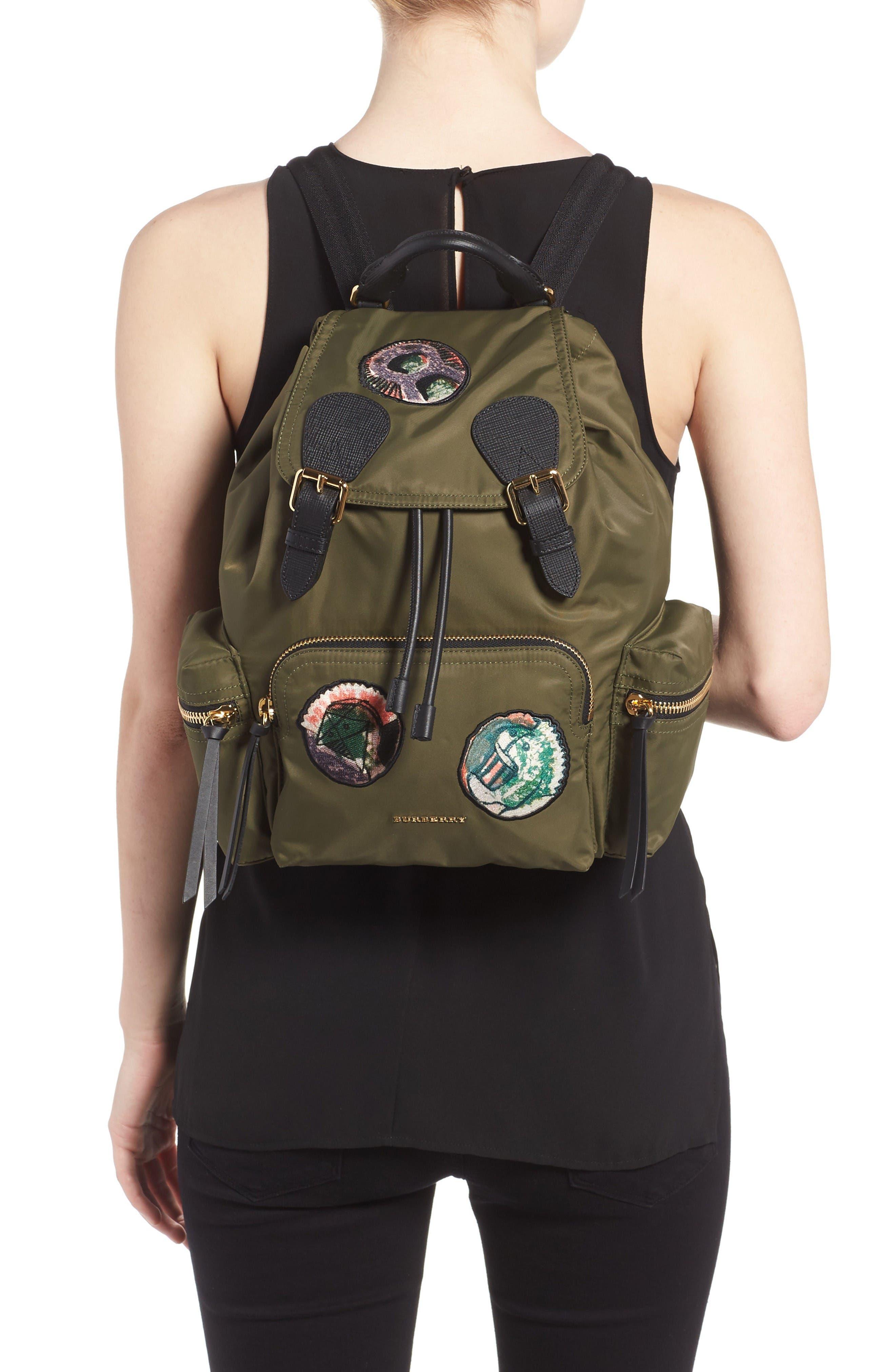 Medium Patches Rucksack Nylon Backpack,                             Alternate thumbnail 2, color,                             Canvas Green