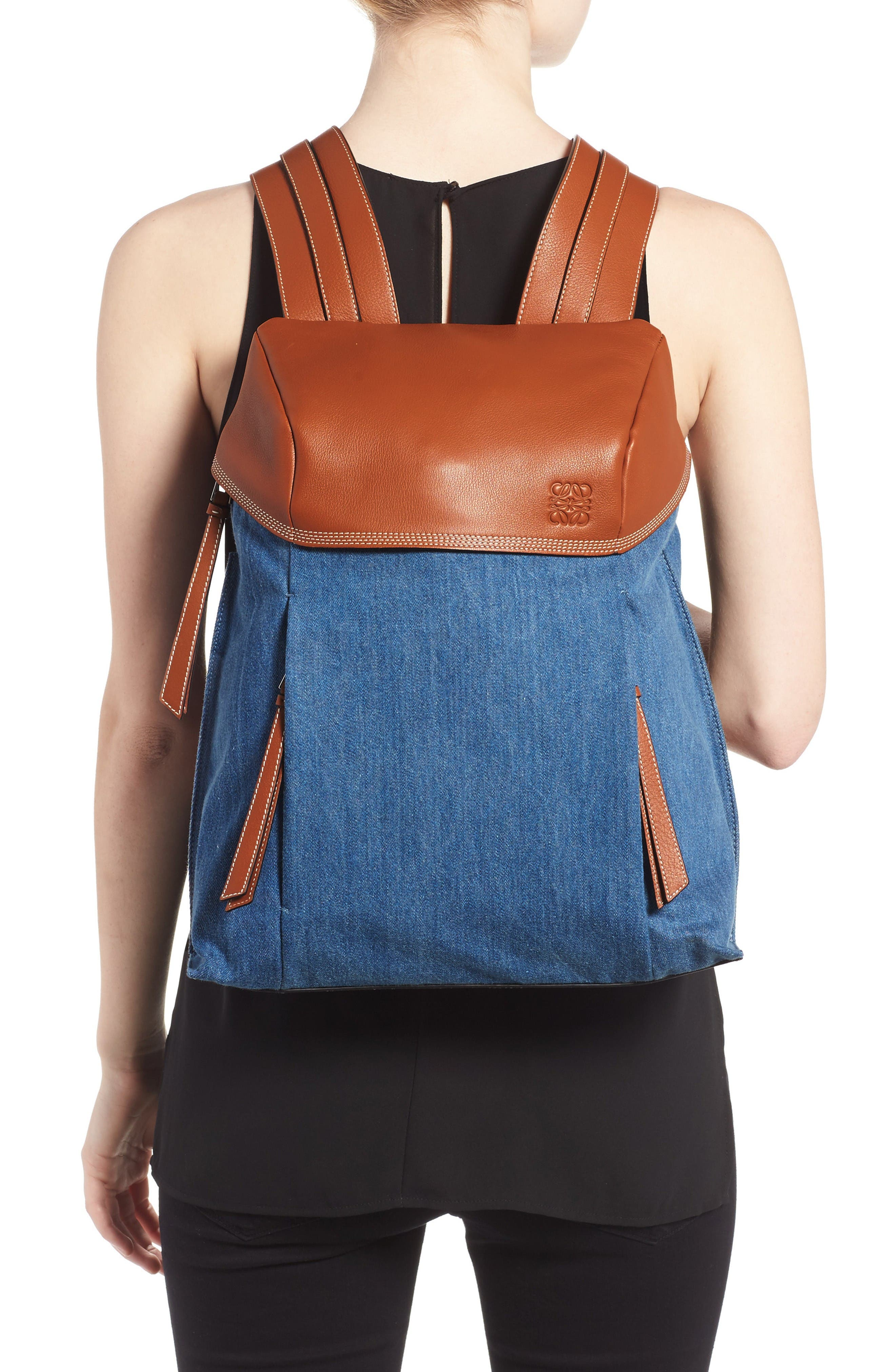 T Small Denim & Leather Backpack,                             Alternate thumbnail 2, color,                             Dark Blue/Tan
