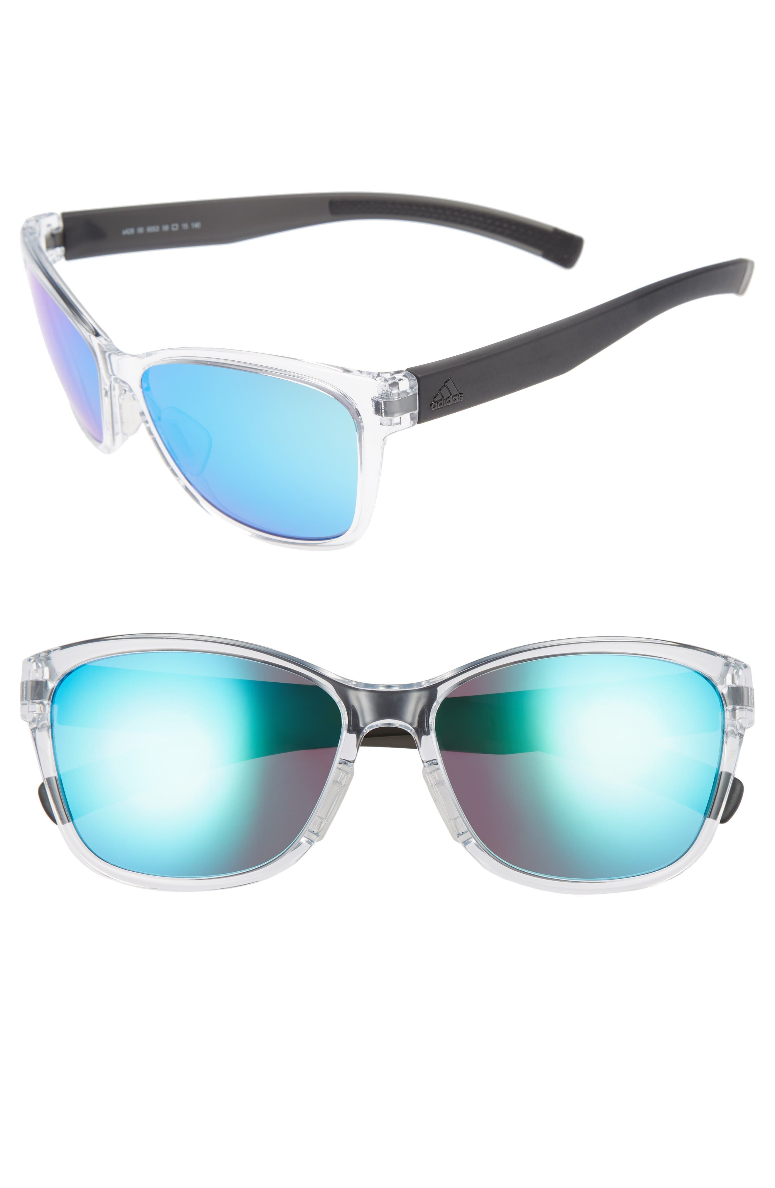 Excalate 58mm Mirrored Sunglasses,                             Main thumbnail 1, color,                             Crystal Clear/ Blue Mirror