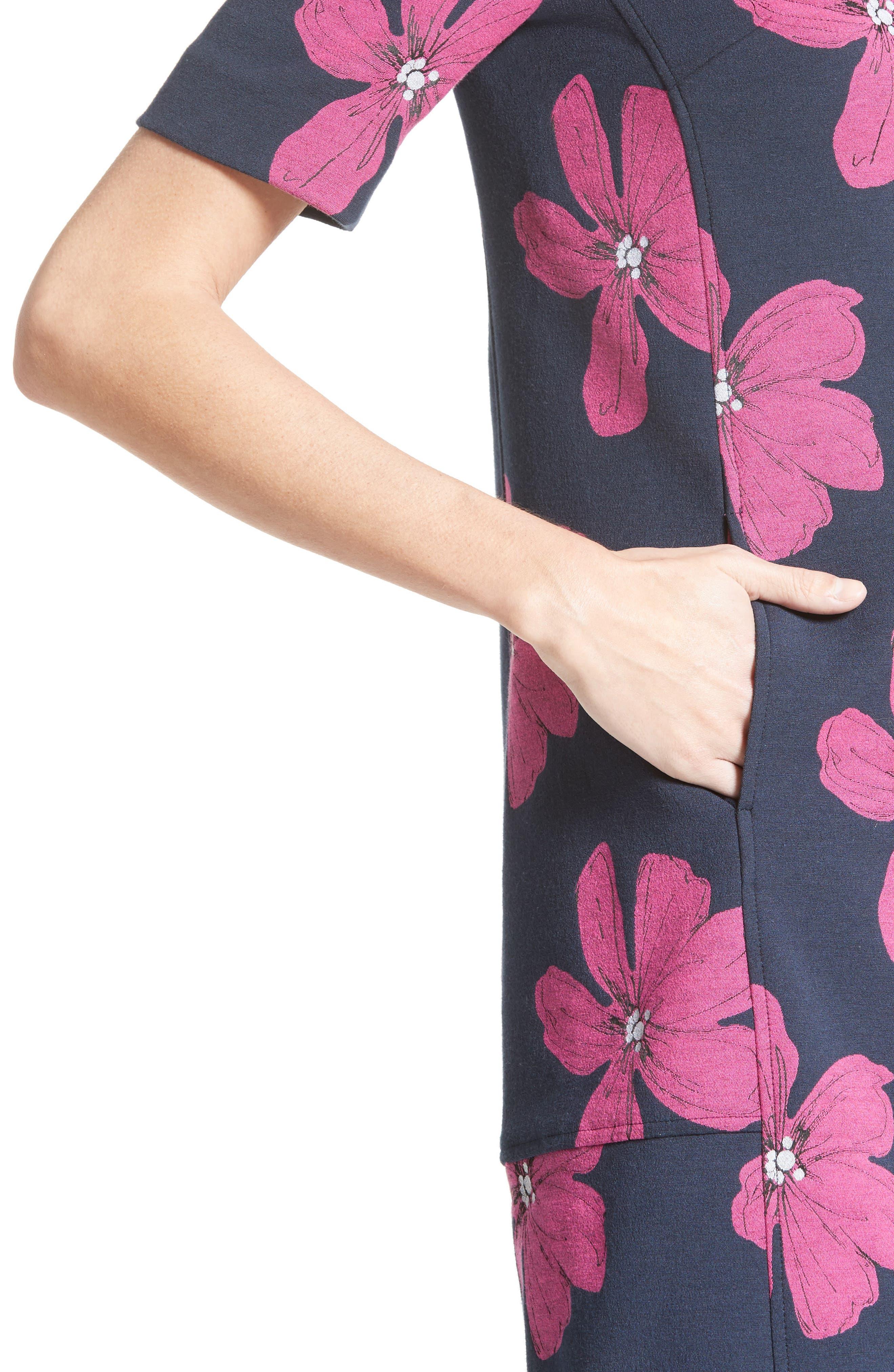 Floral Print Stretch Jacquard Tunic Dress,                             Alternate thumbnail 7, color,                             Navy/ Fuchsia