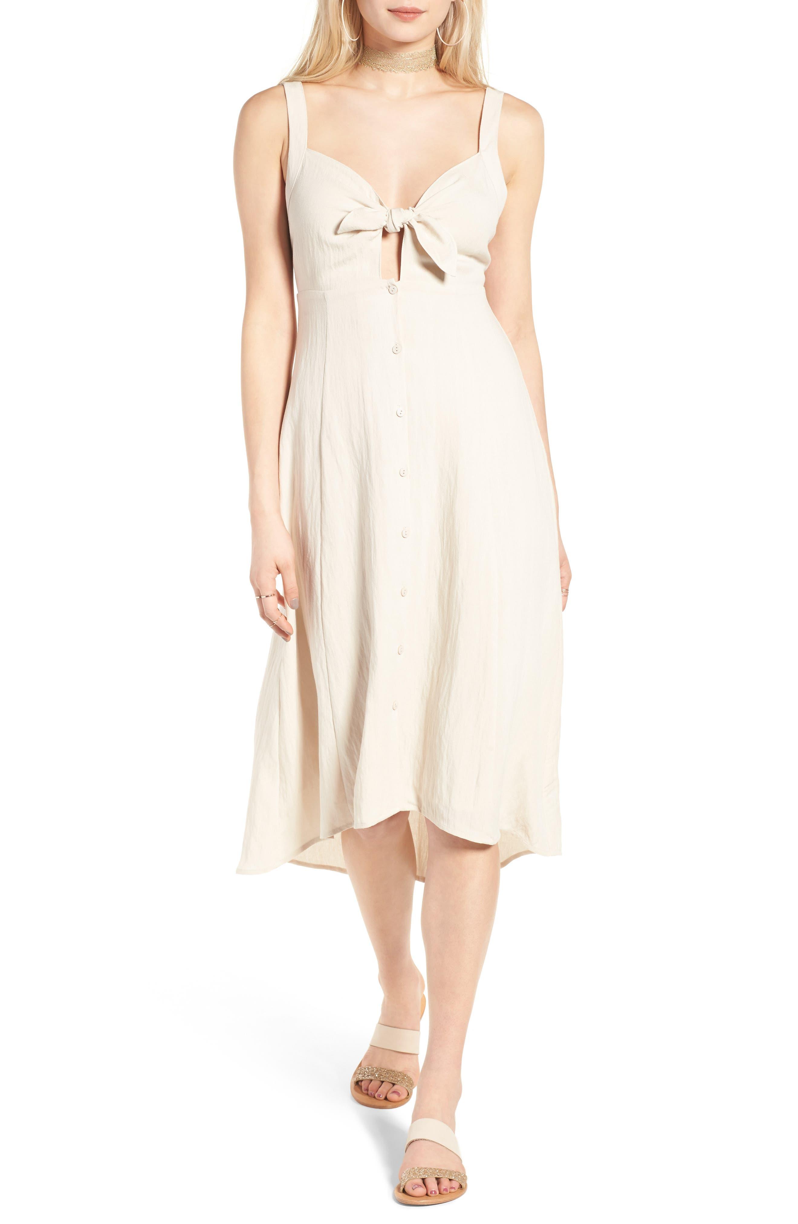 ASTR the Label Tie Front Midi Dress