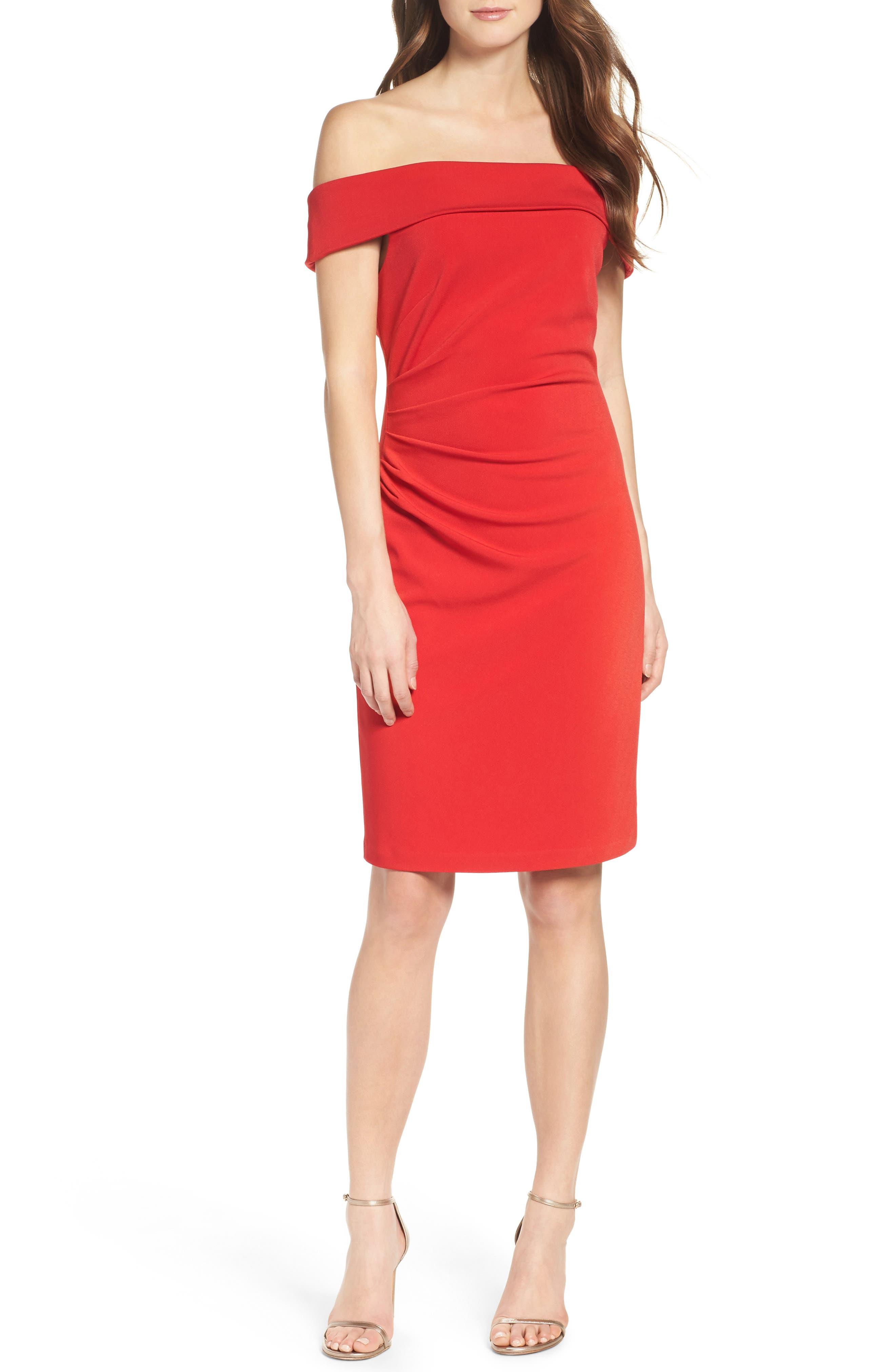 Off the Shoulder Crepe Sheath Dress,                             Alternate thumbnail 2, color,                             Red