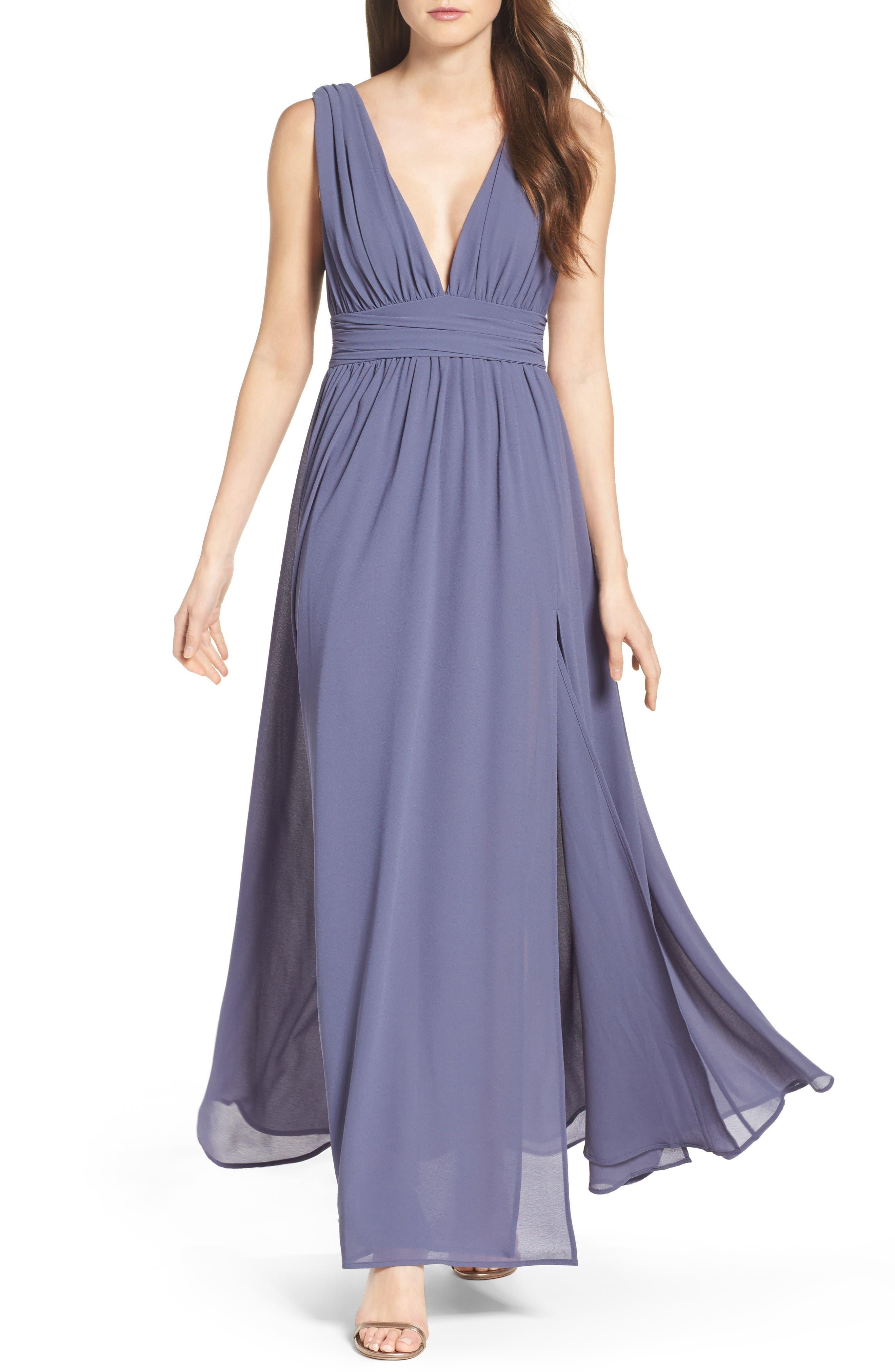 Main Image - Lulus Plunging V-Neck Chiffon Gown