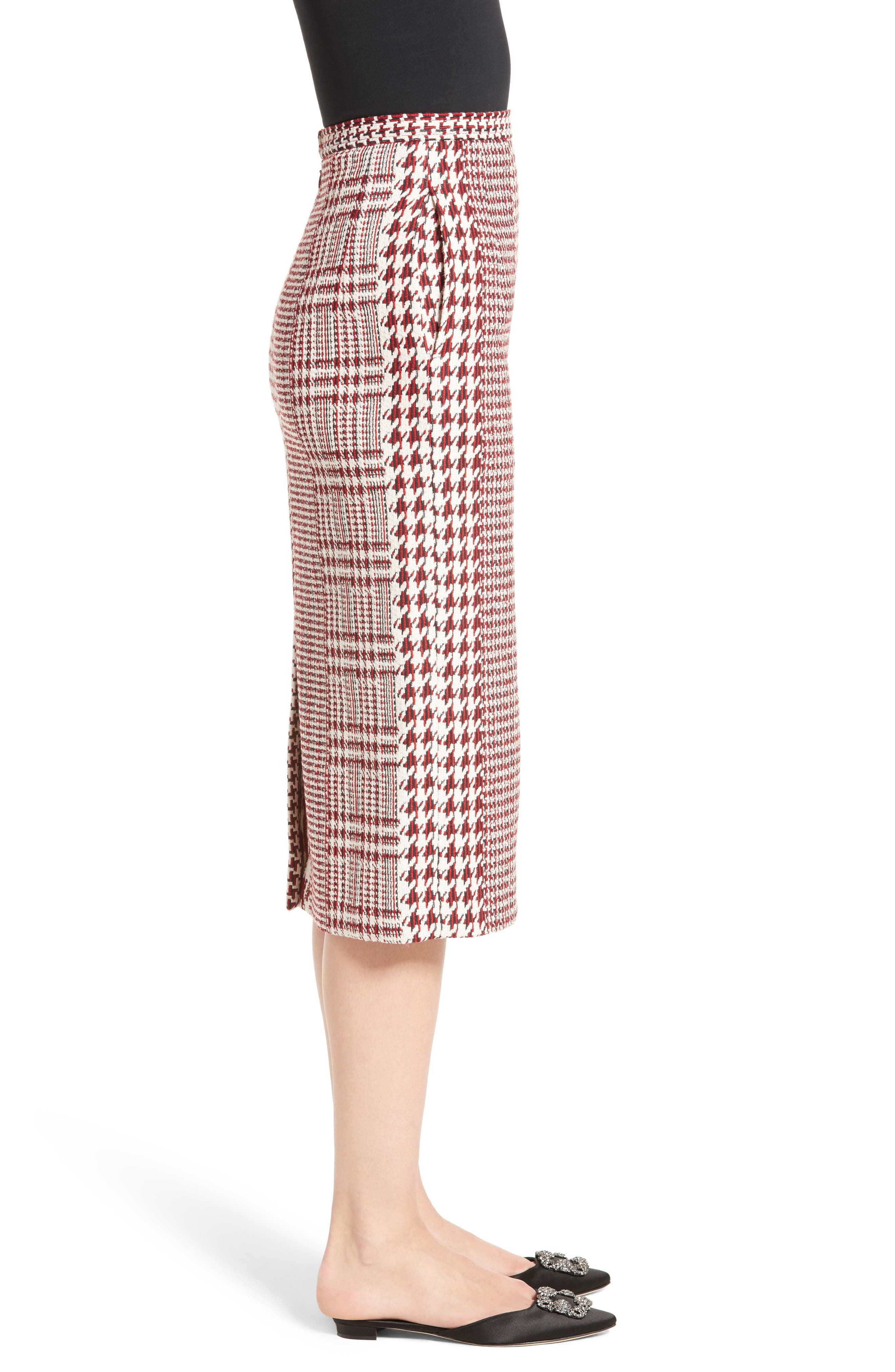 Houndstooth Pencil Skirt,                             Alternate thumbnail 6, color,                             Red Multi