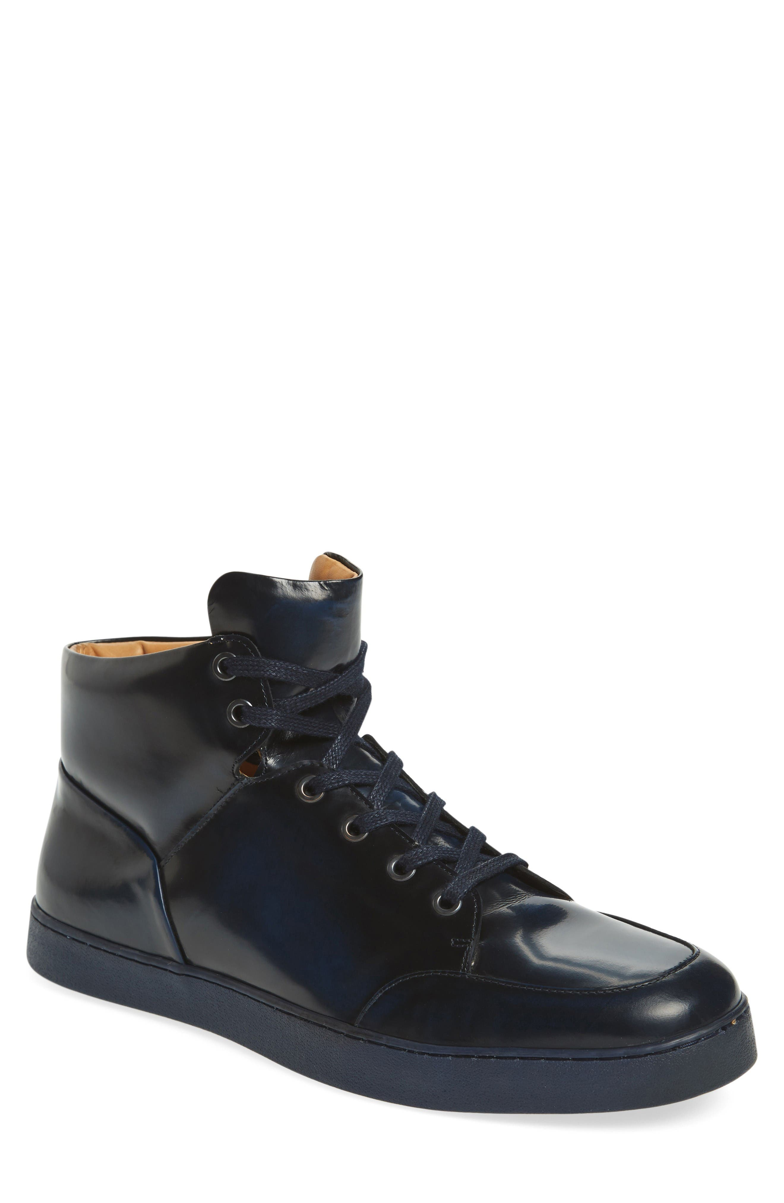 Gidean High Top Sneaker,                         Main,                         color, Navy Leather