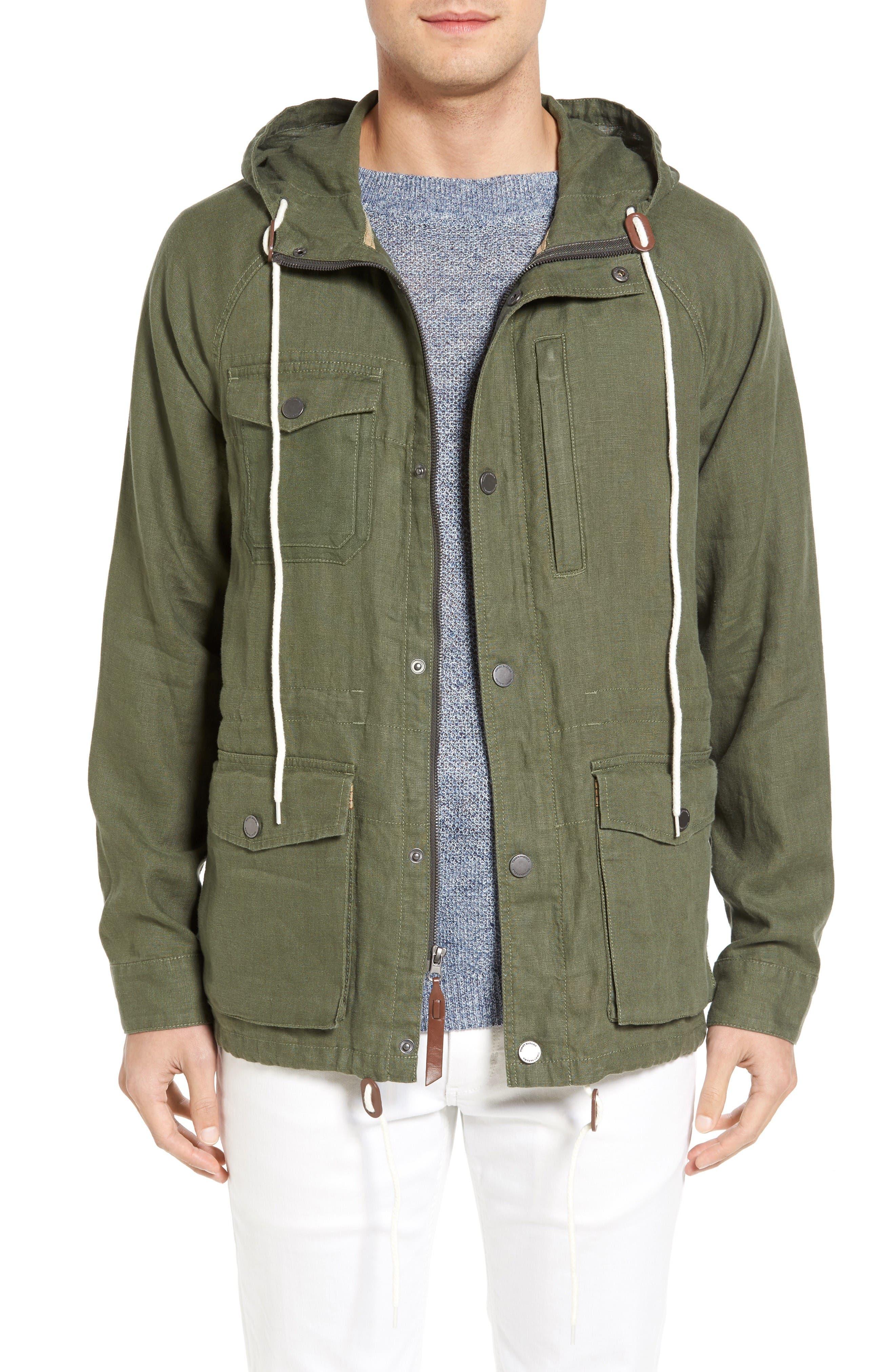Harbor Linen Hooded Jacket,                         Main,                         color, Beetle Green