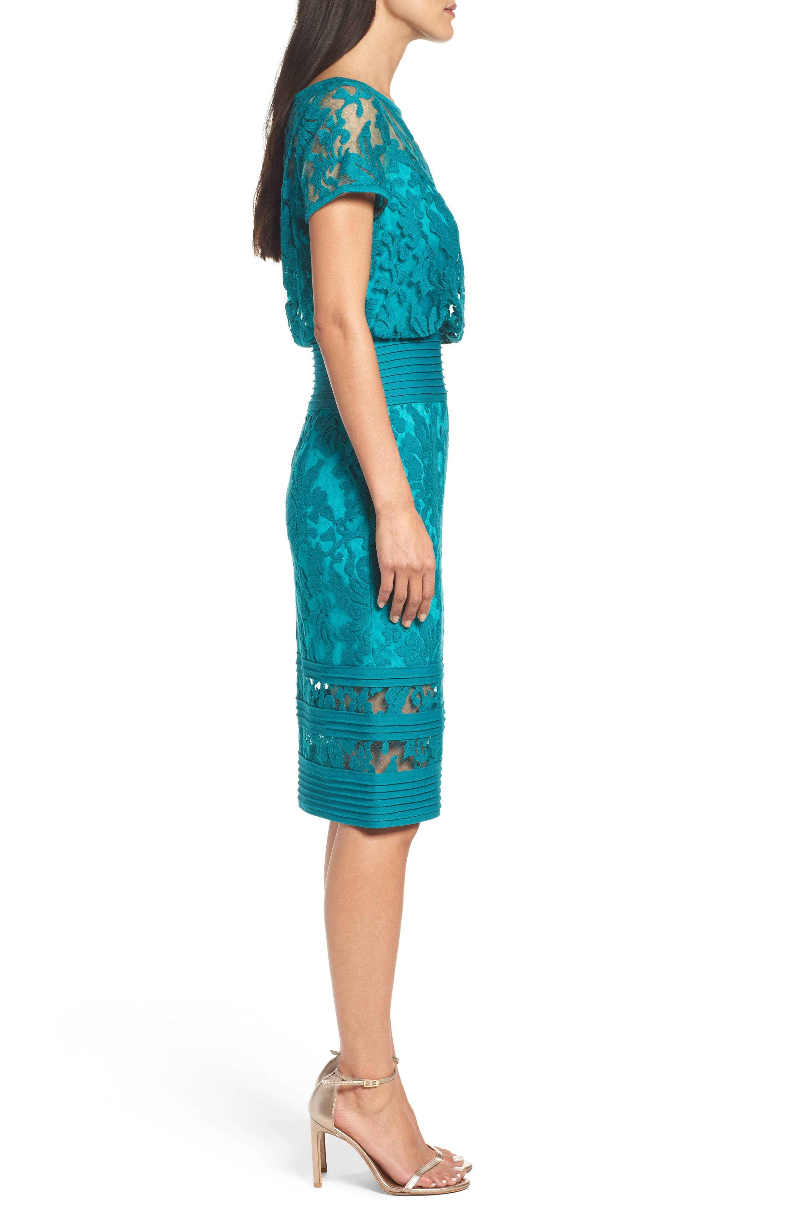 Embroidered Blouson Sheath Dress,                             Alternate thumbnail 3, color,                             Aqua Blue