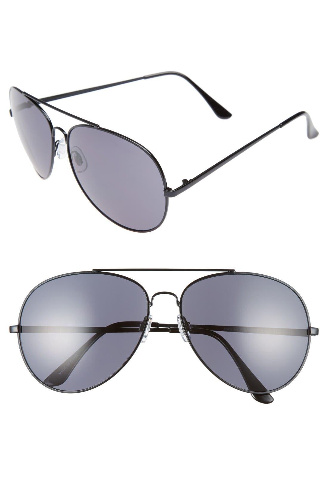 65mm Oversize Aviator Sunglasses,                             Main thumbnail 1, color,                             Black/ Black