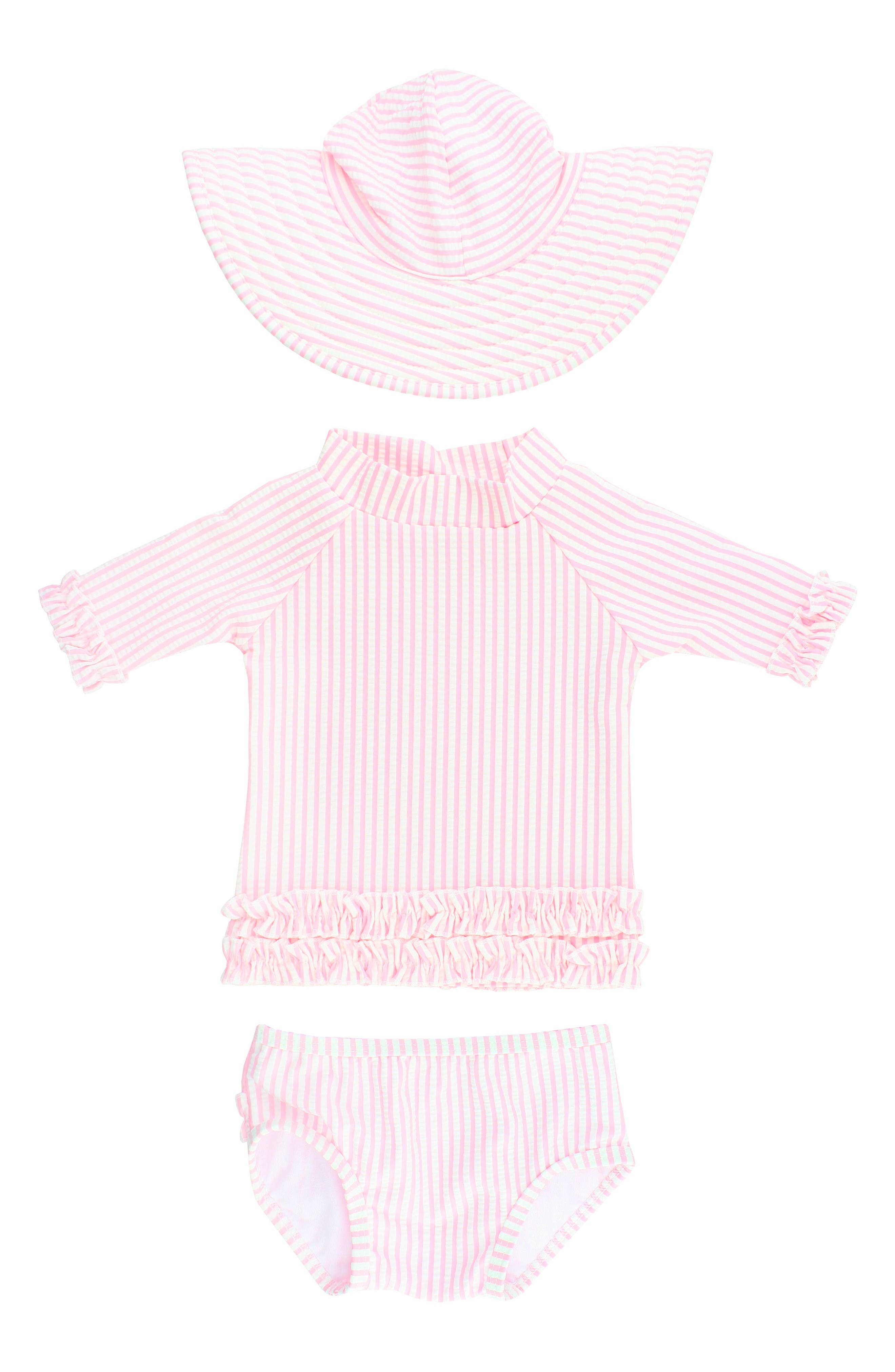 RuffleButts Seersucker Two-Piece Rashguard Swimsuit & Hat Set (Baby Girls)