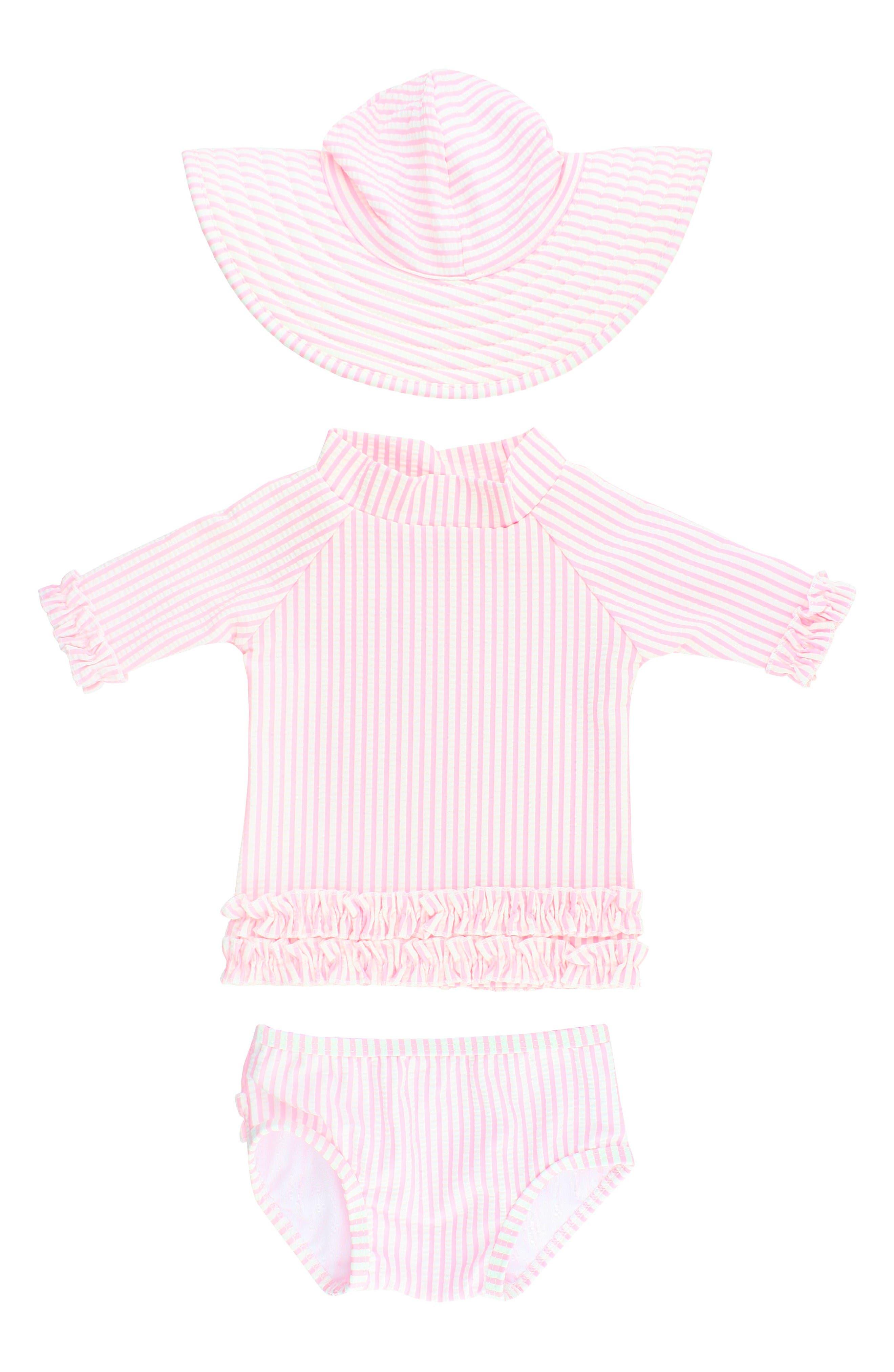 RuffleButts Seersucker Two-Piece Rashguard Swimsuit & Hat Set (Baby Girls)