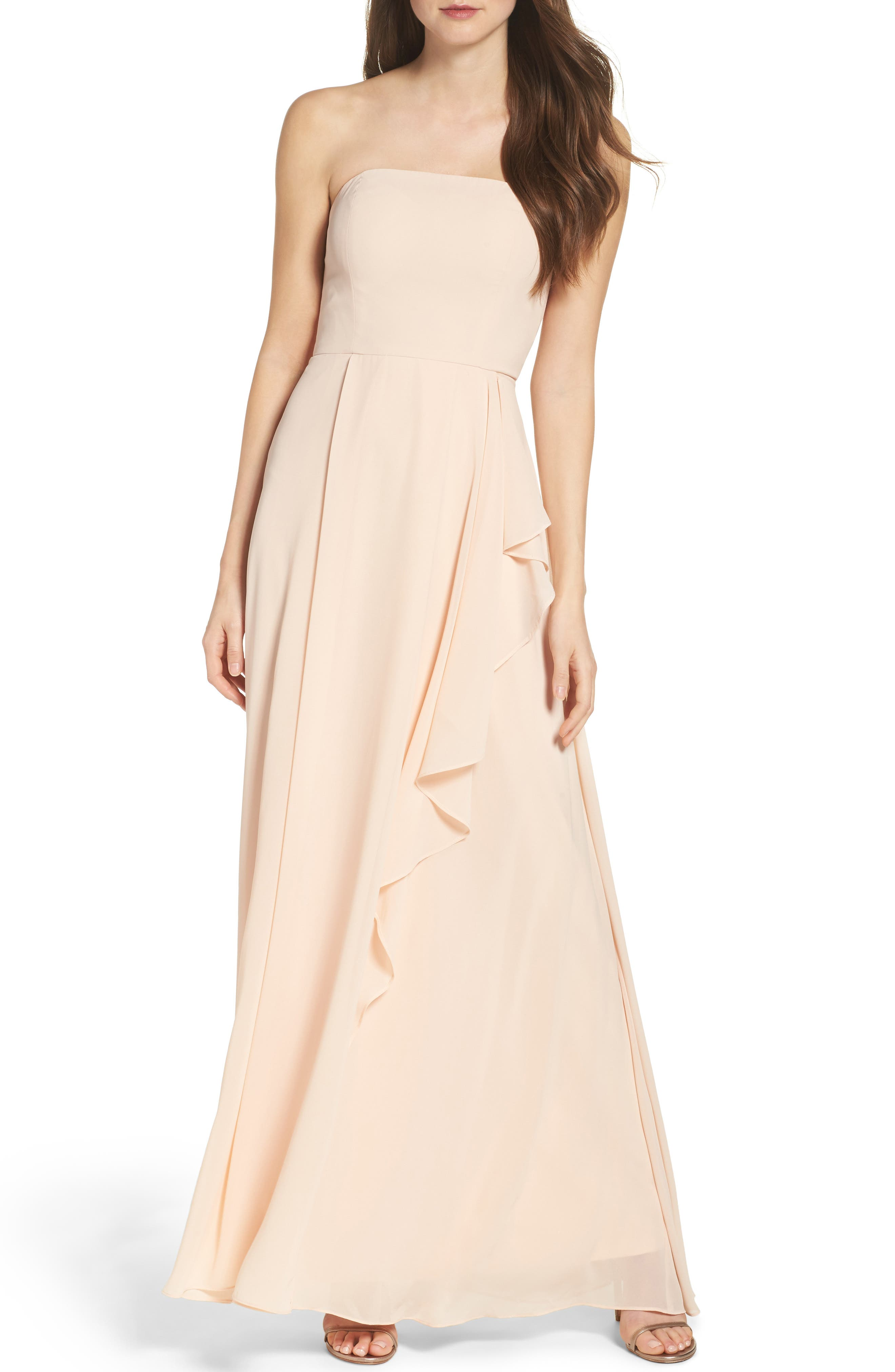 Chiffon Strapless Maxi Dress,                             Main thumbnail 1, color,                             Blush