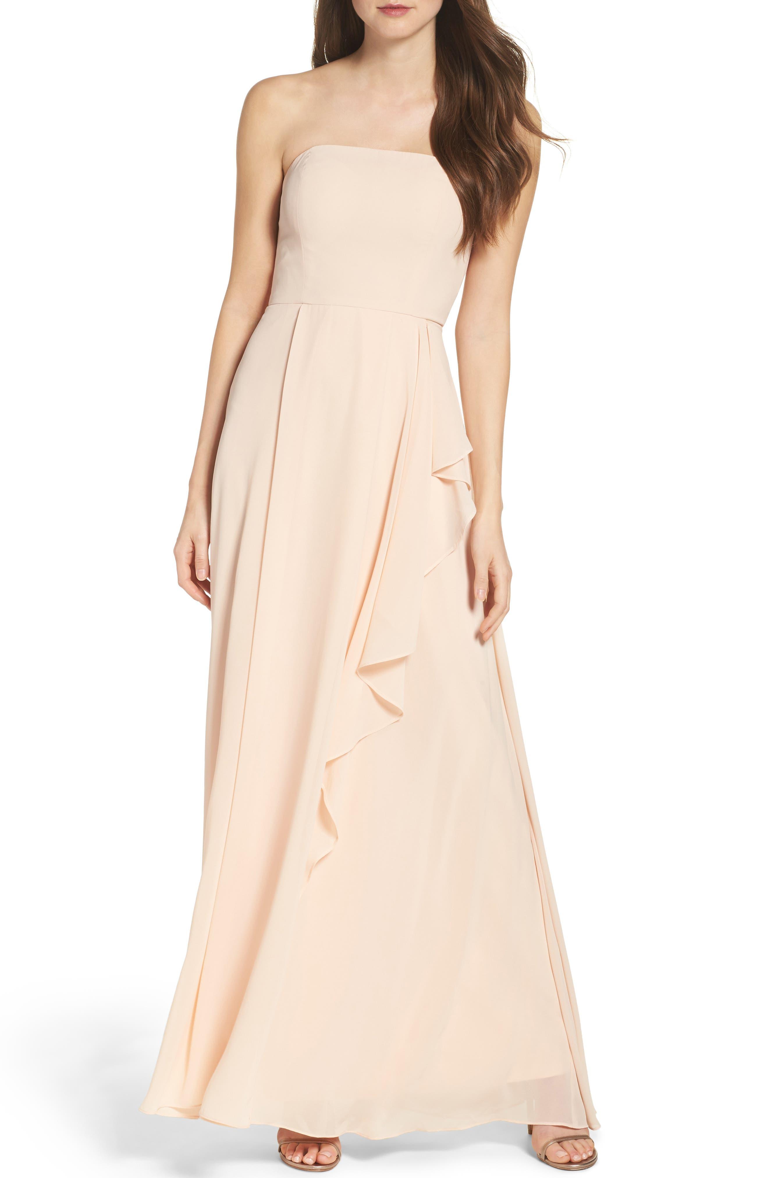 Chiffon Strapless Maxi Dress,                         Main,                         color, Blush