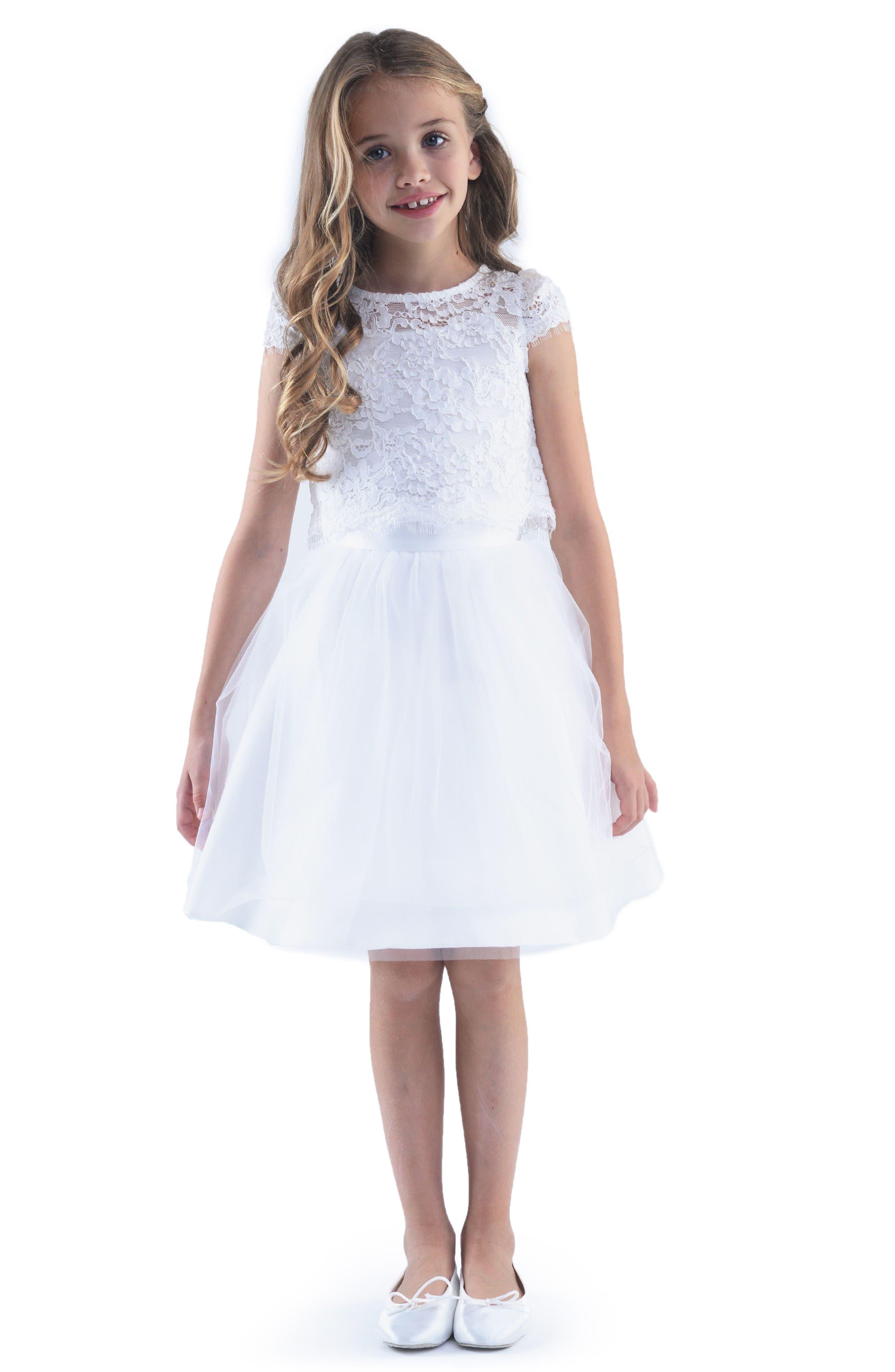 Lace Top & Mesh Skirt Set,                             Main thumbnail 1, color,                             Ivory