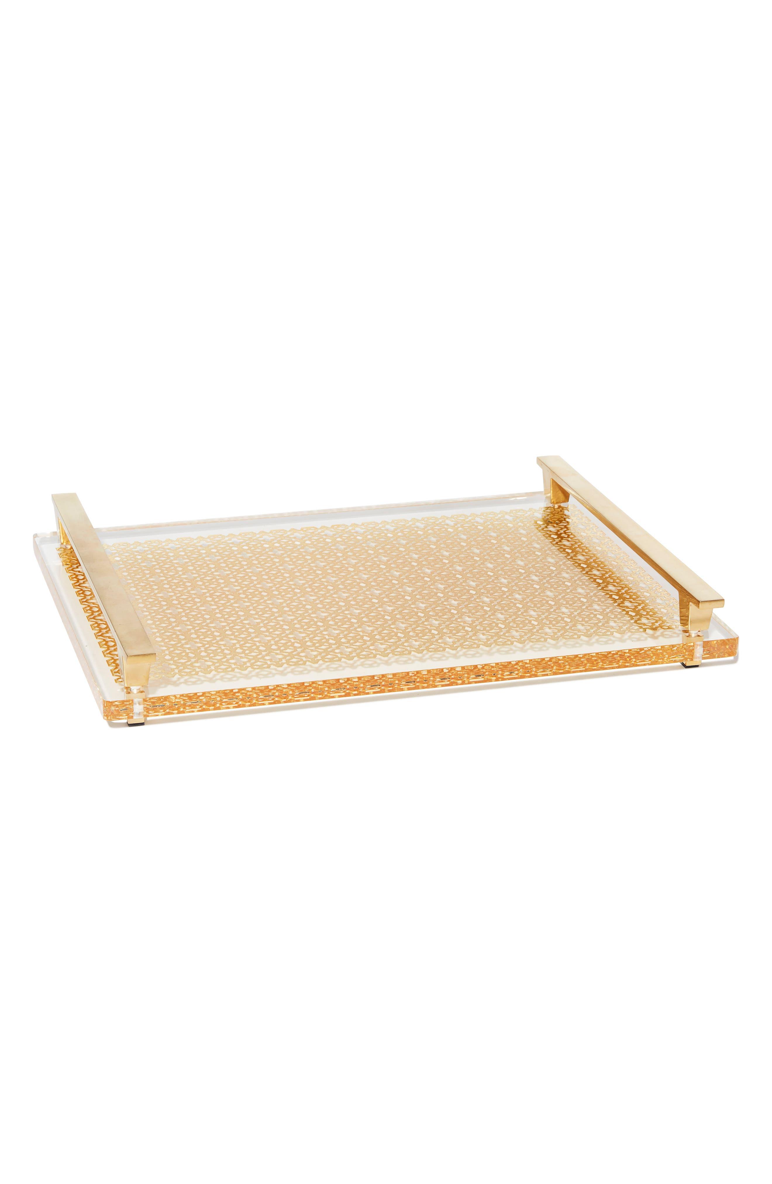 Filigree Acrylic Tray,                         Main,                         color, Bright Brass