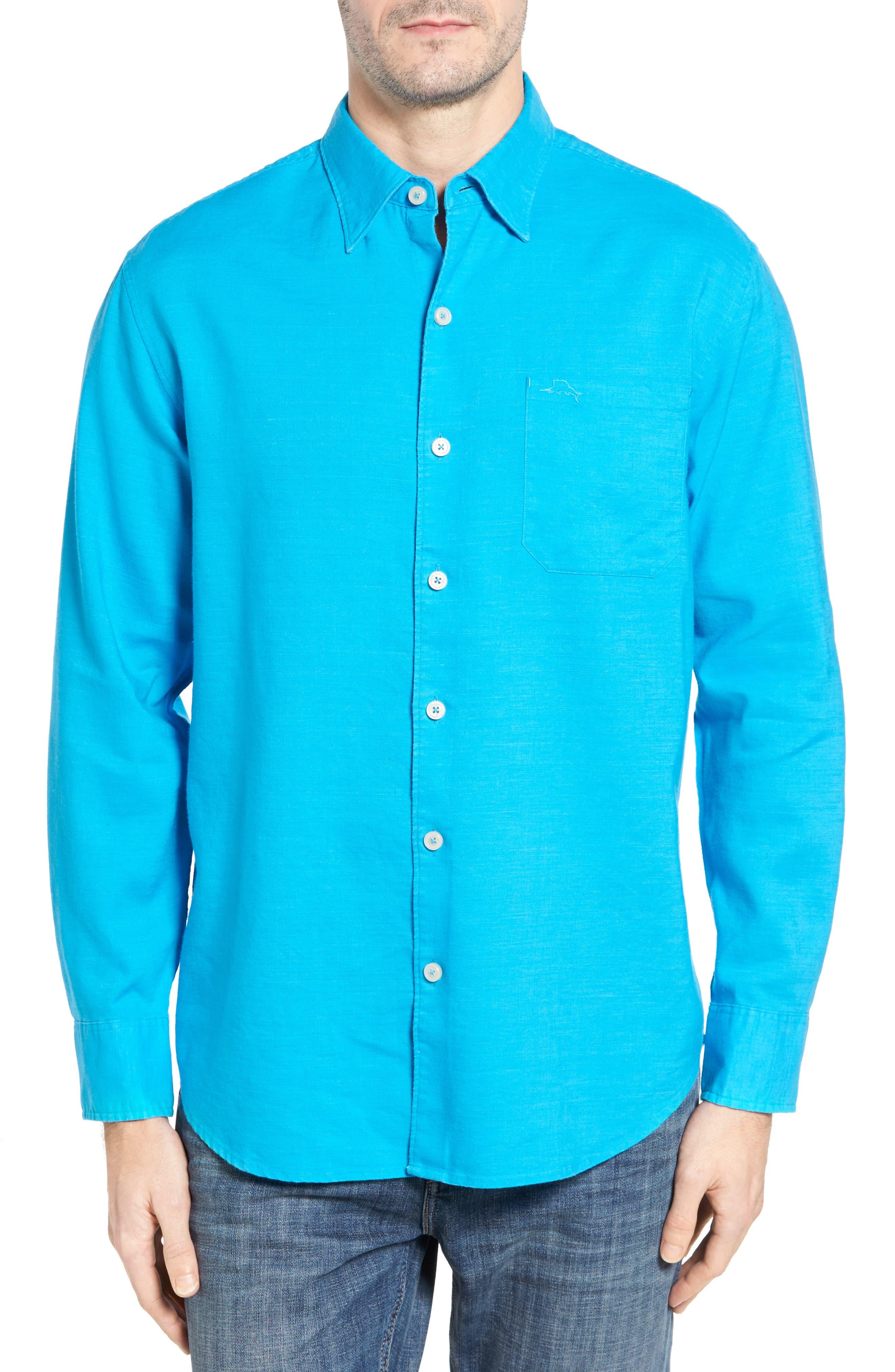 Monaco Tides Linen Blend Sport Shirt,                         Main,                         color, Blue Danube