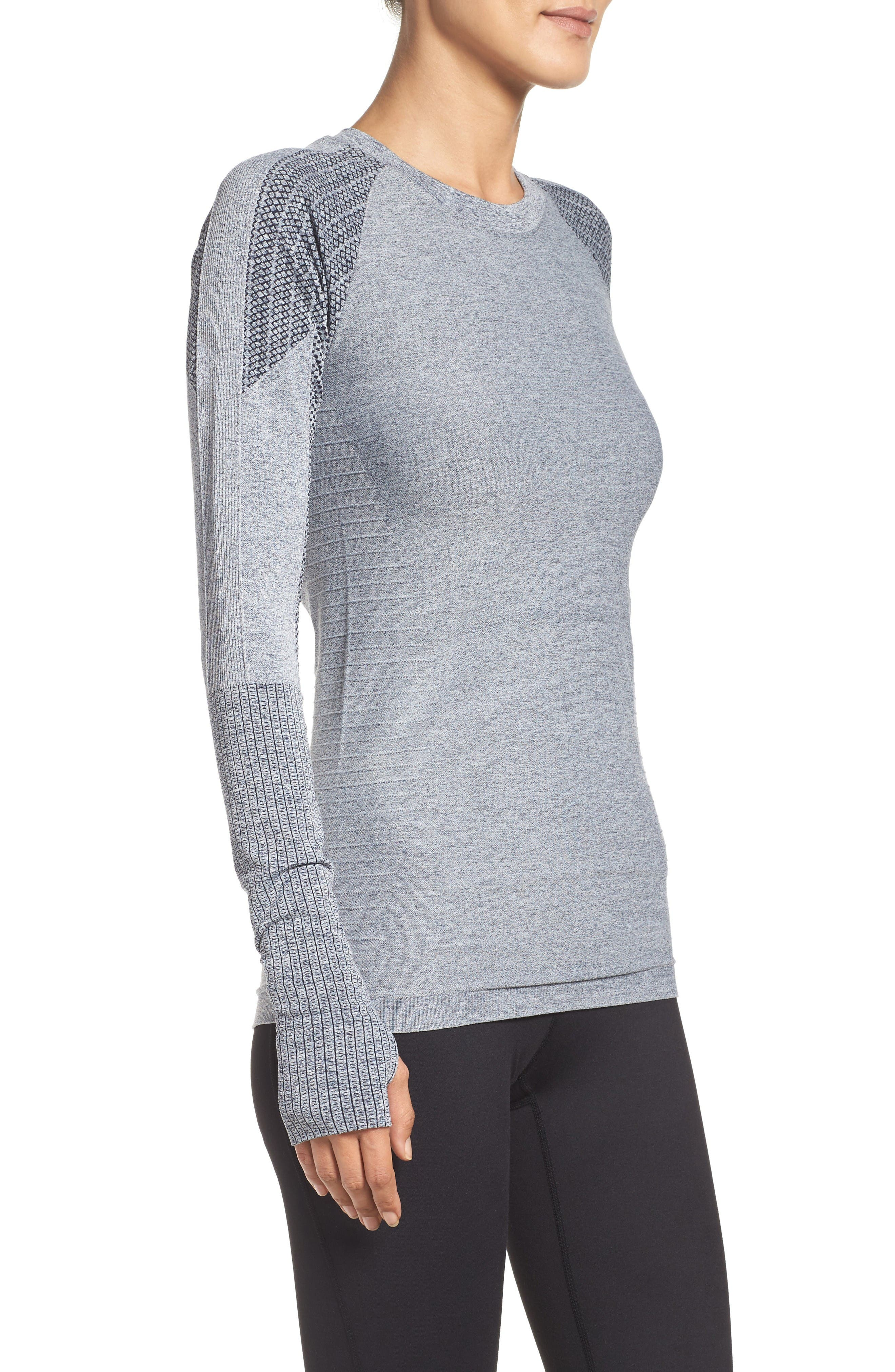 Dynamic Running Top,                             Alternate thumbnail 3, color,                             Grey/ White Melange