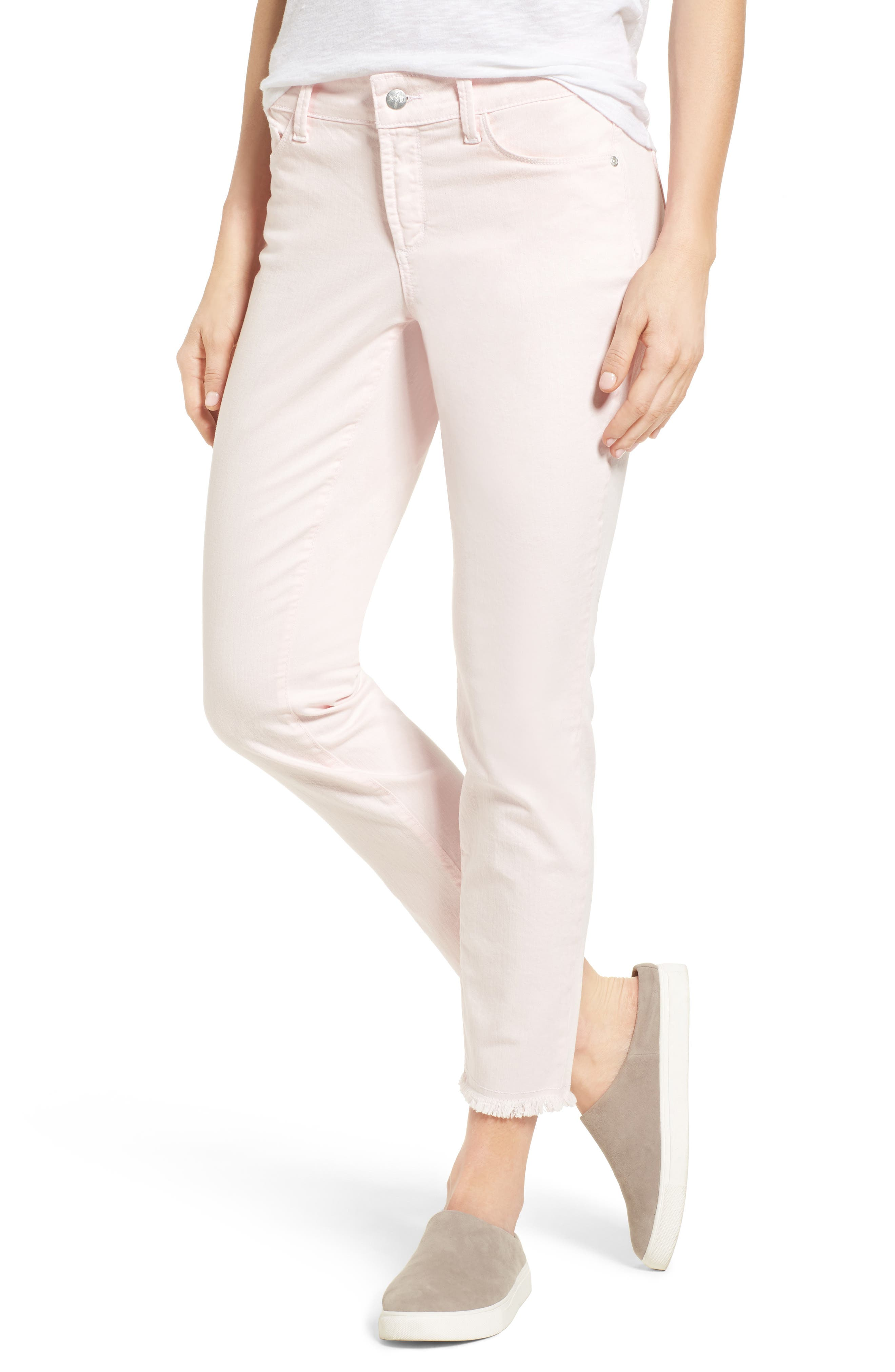 Alina Frayed Stretch Twill Ankle Pants,                         Main,                         color, Pink Chiffon