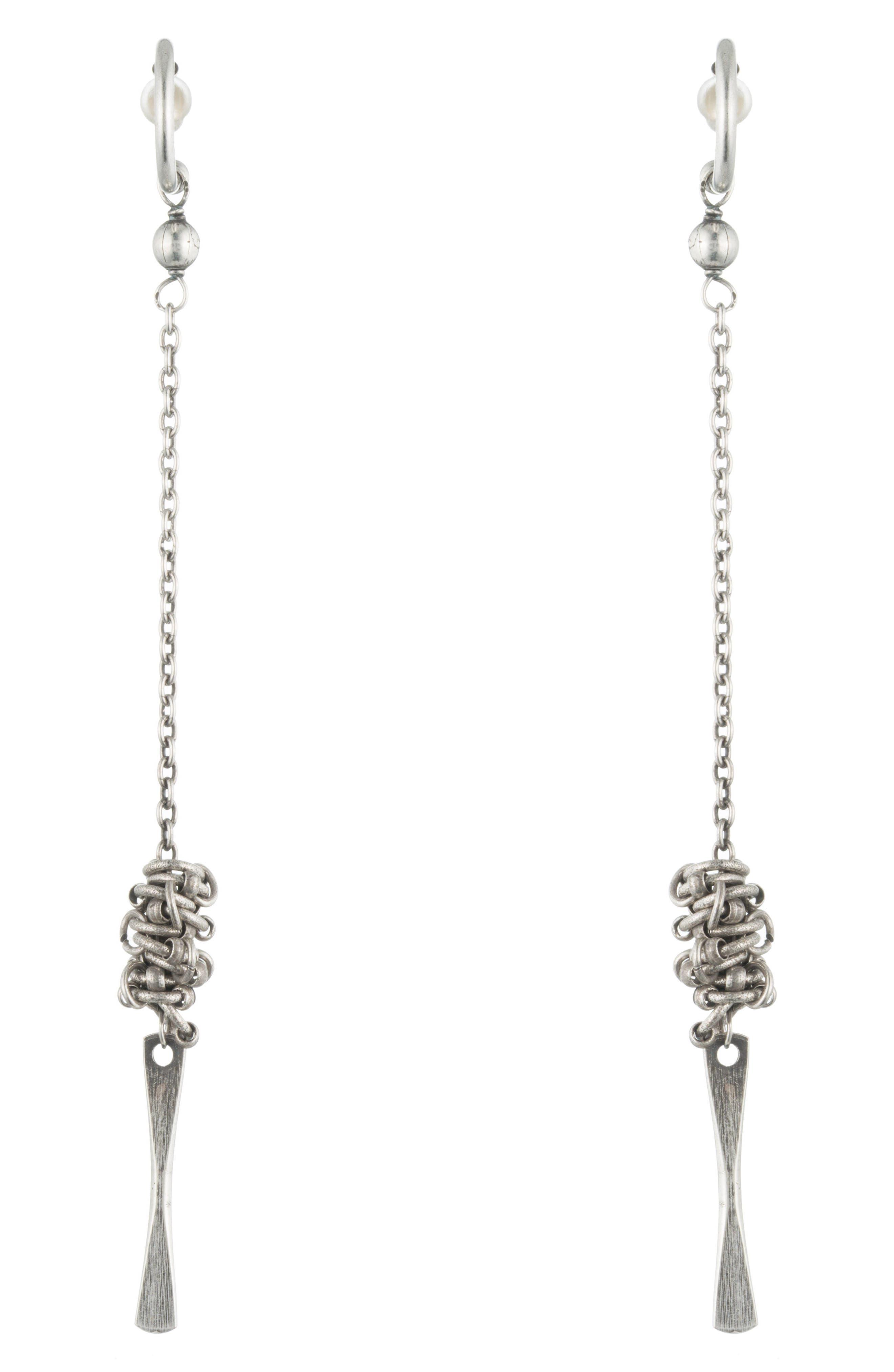 Matix Drop Earrings,                         Main,                         color, Silver