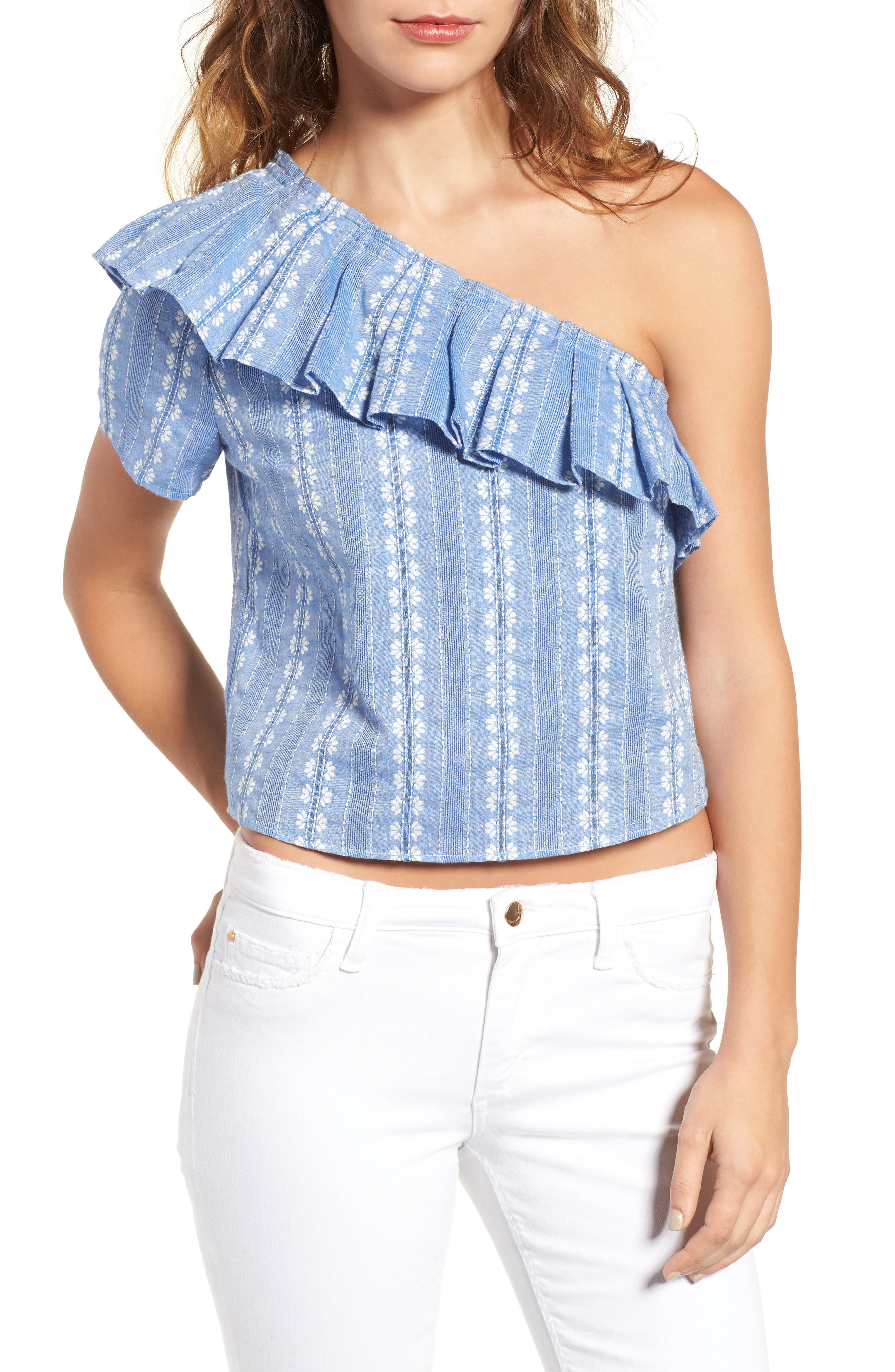 Splendid Cotton One-Shoulder Crop Top