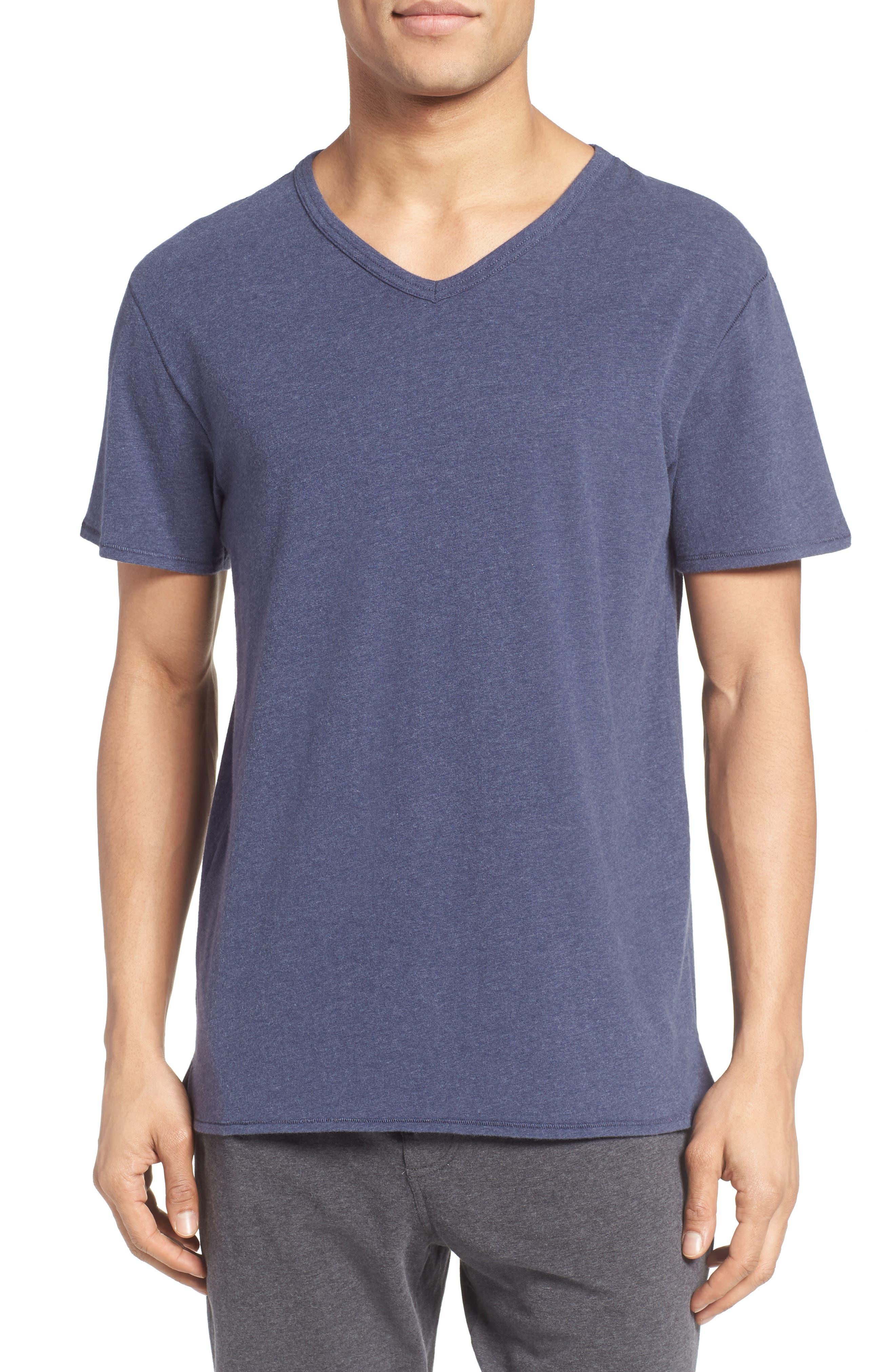 Stretch Cotton V-Neck T-Shirt,                         Main,                         color, Blue Denim