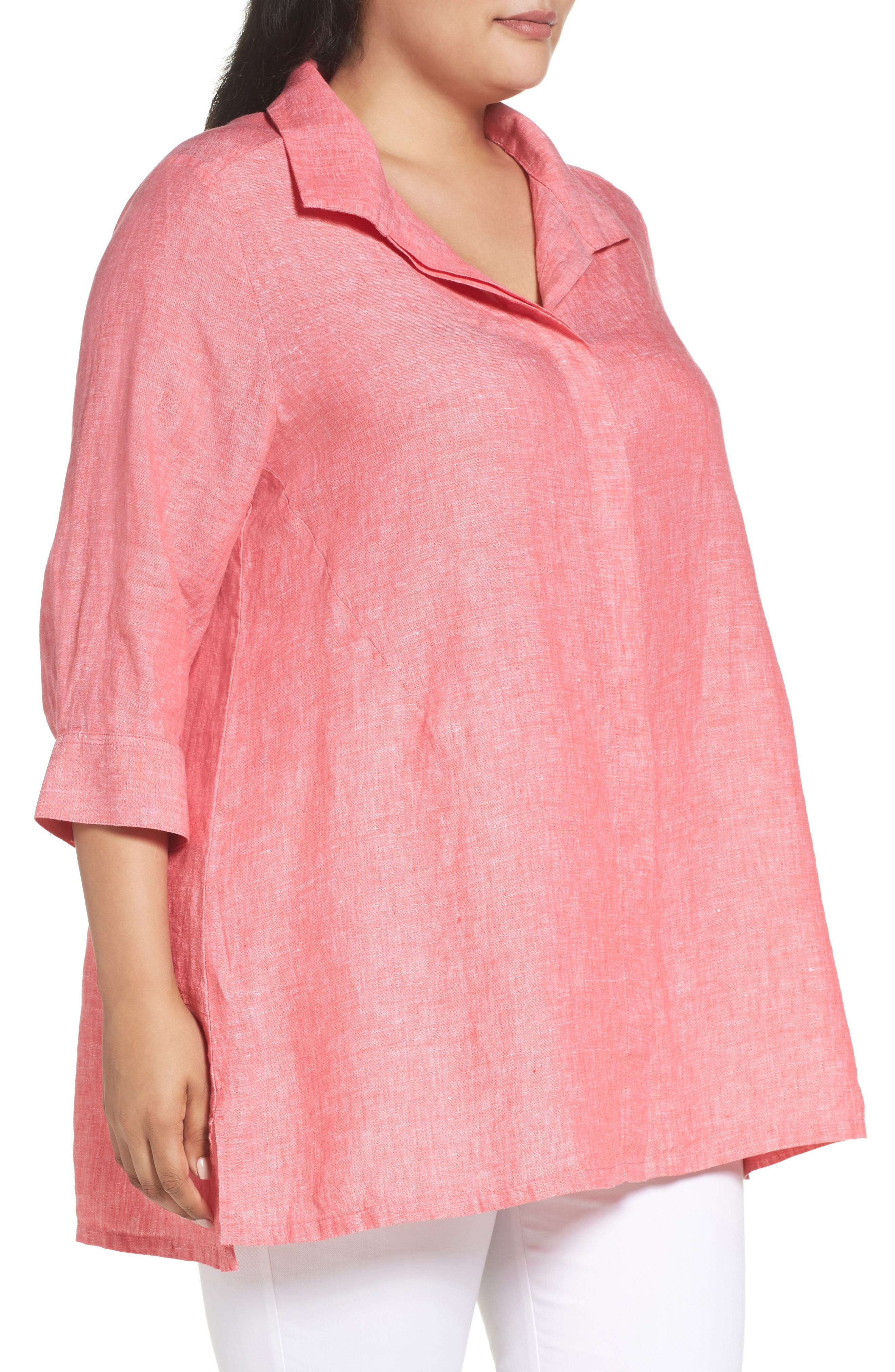 Alternate Image 3  - Foxcroft Linen Chambray Tunic (Plus Size)