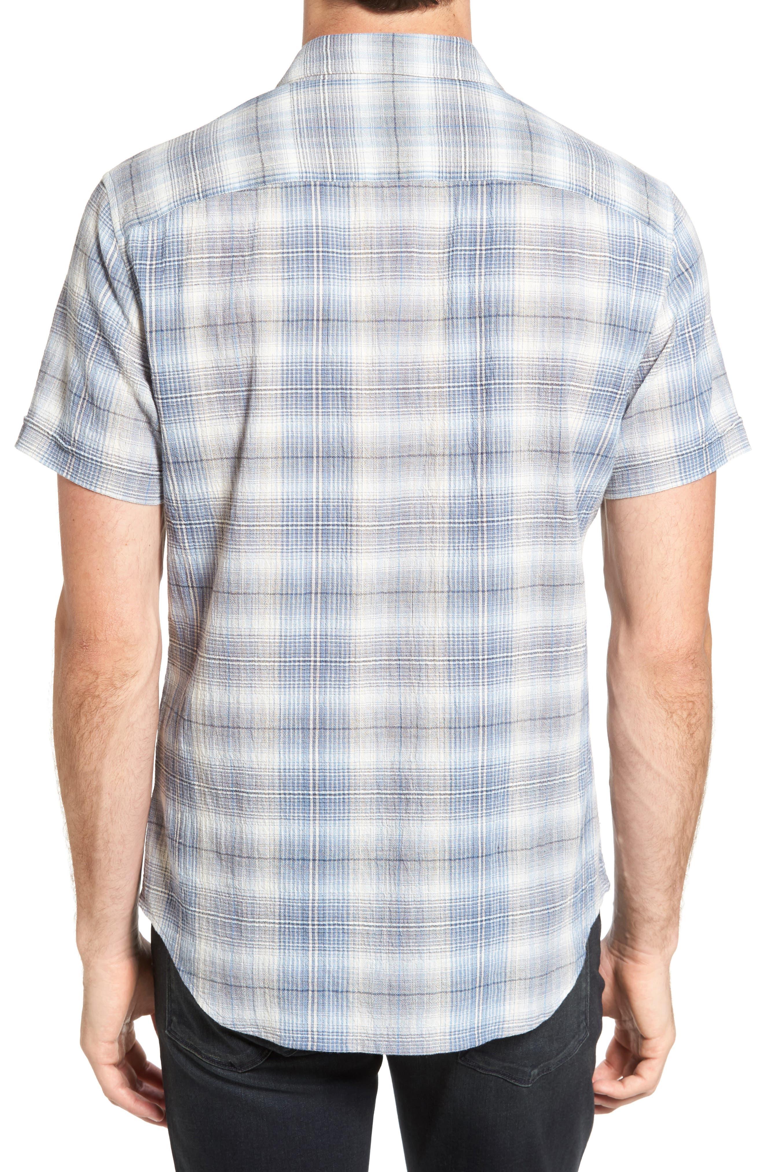 Trim Fit Plaid Sport Shirt,                             Alternate thumbnail 2, color,                             Water Blue